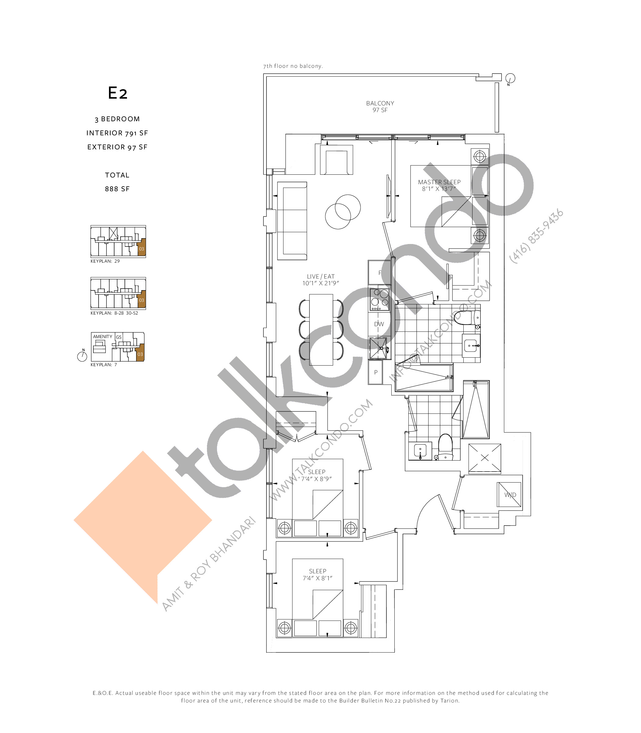 E2 Floor Plan at 88 Queen Condos - Phase 2 - 791 sq.ft