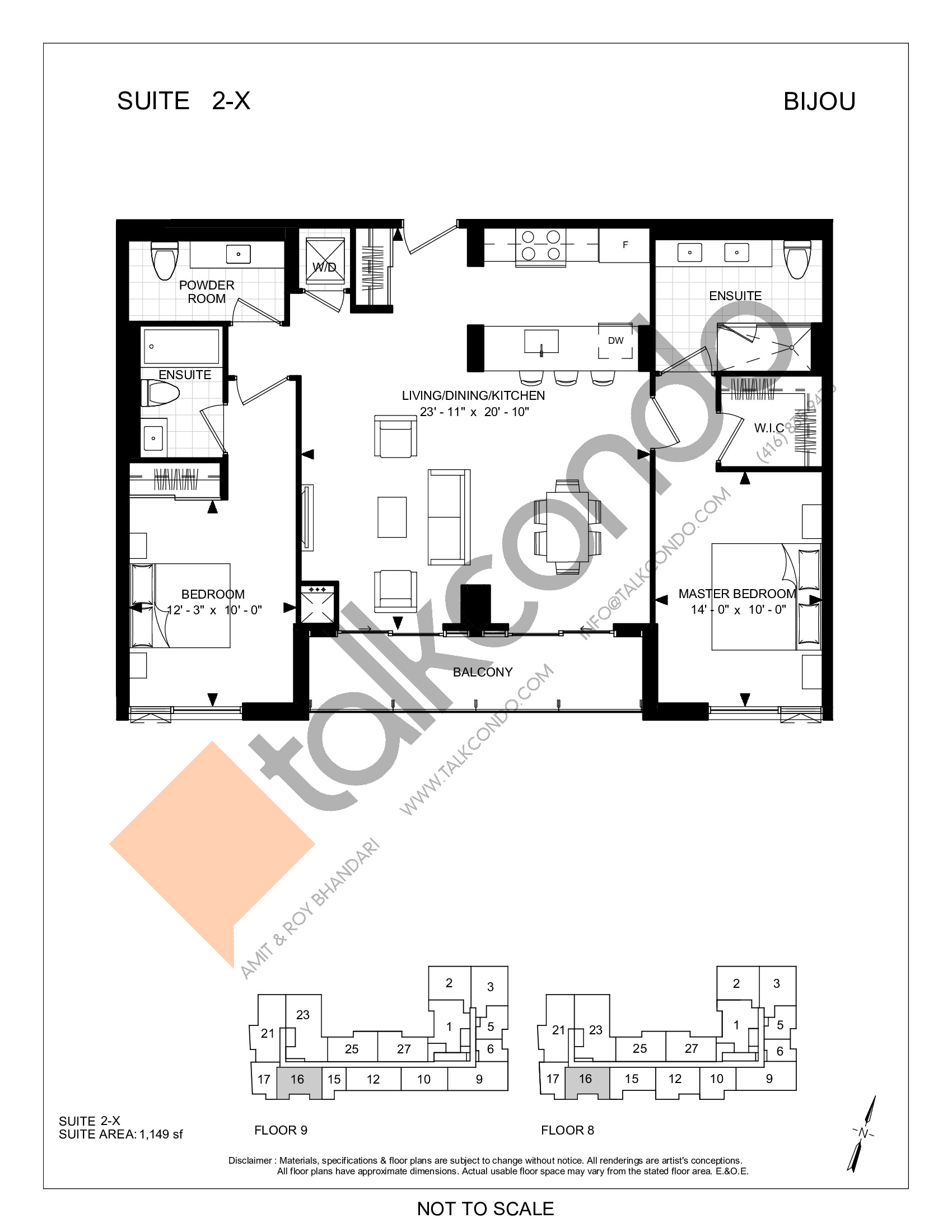 Suite 2-X Floor Plan at Bijou On Bloor Condos - 1149 sq.ft