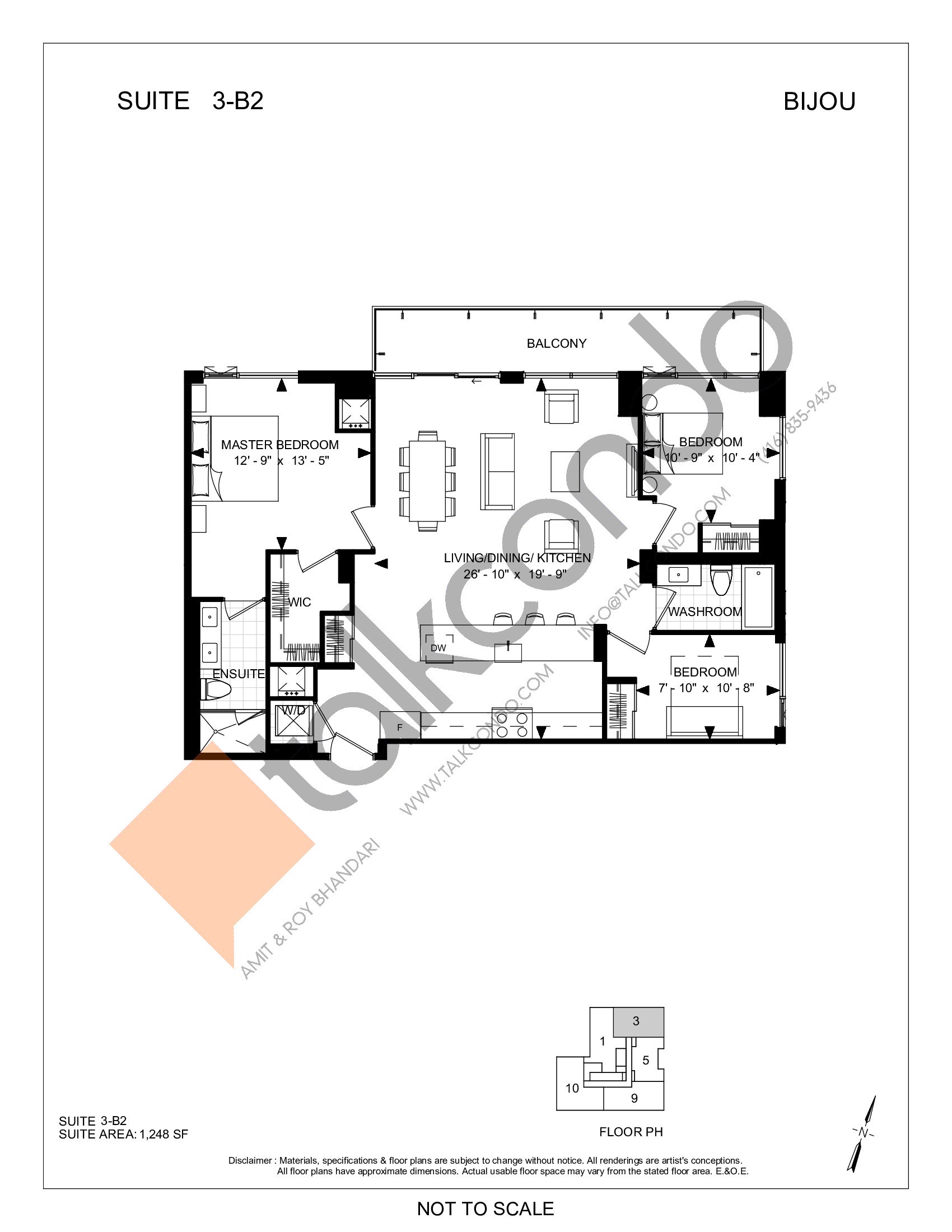 Suite 3-B2 Floor Plan at Bijou On Bloor Condos - 1248 sq.ft