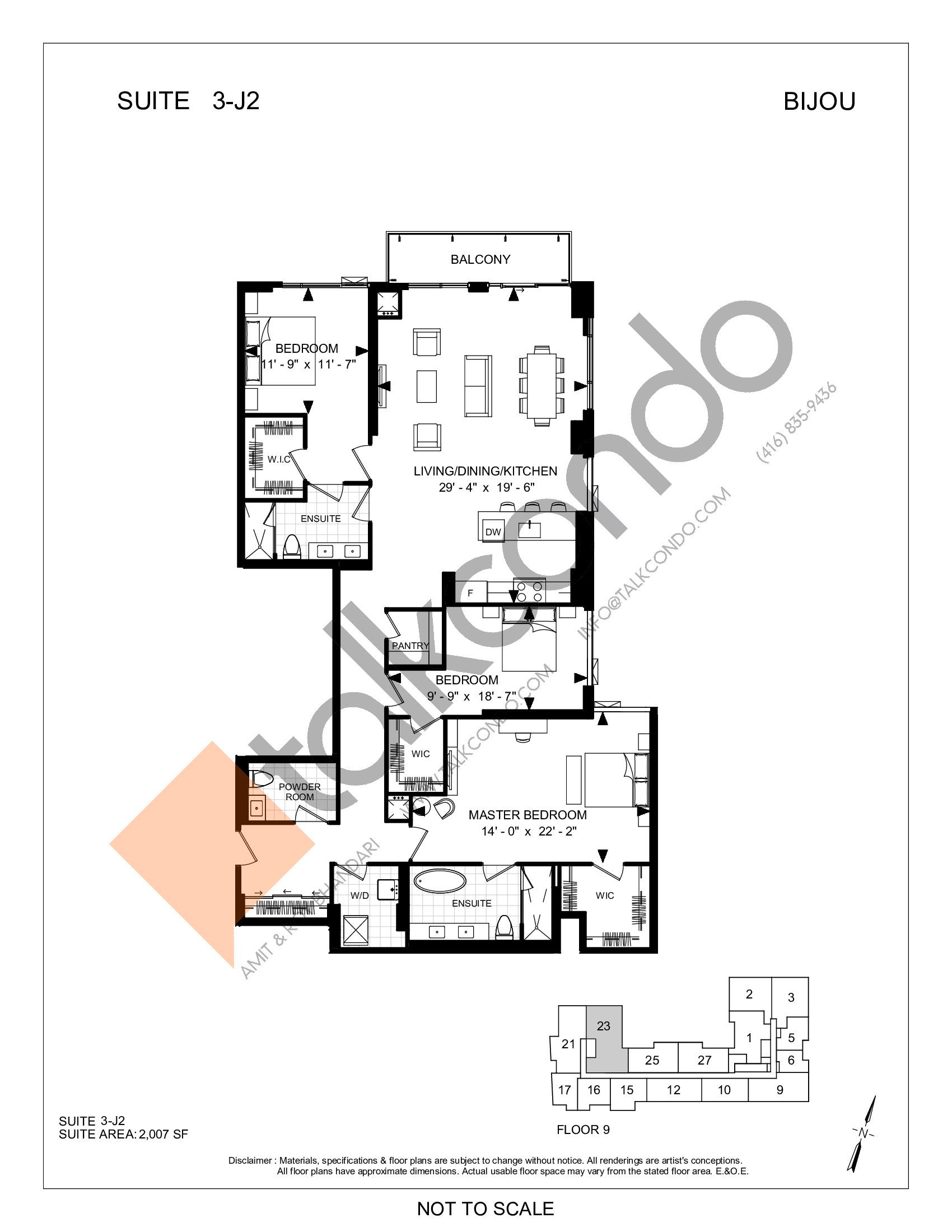 Suite 3-J2 Floor Plan at Bijou On Bloor Condos - 2007 sq.ft