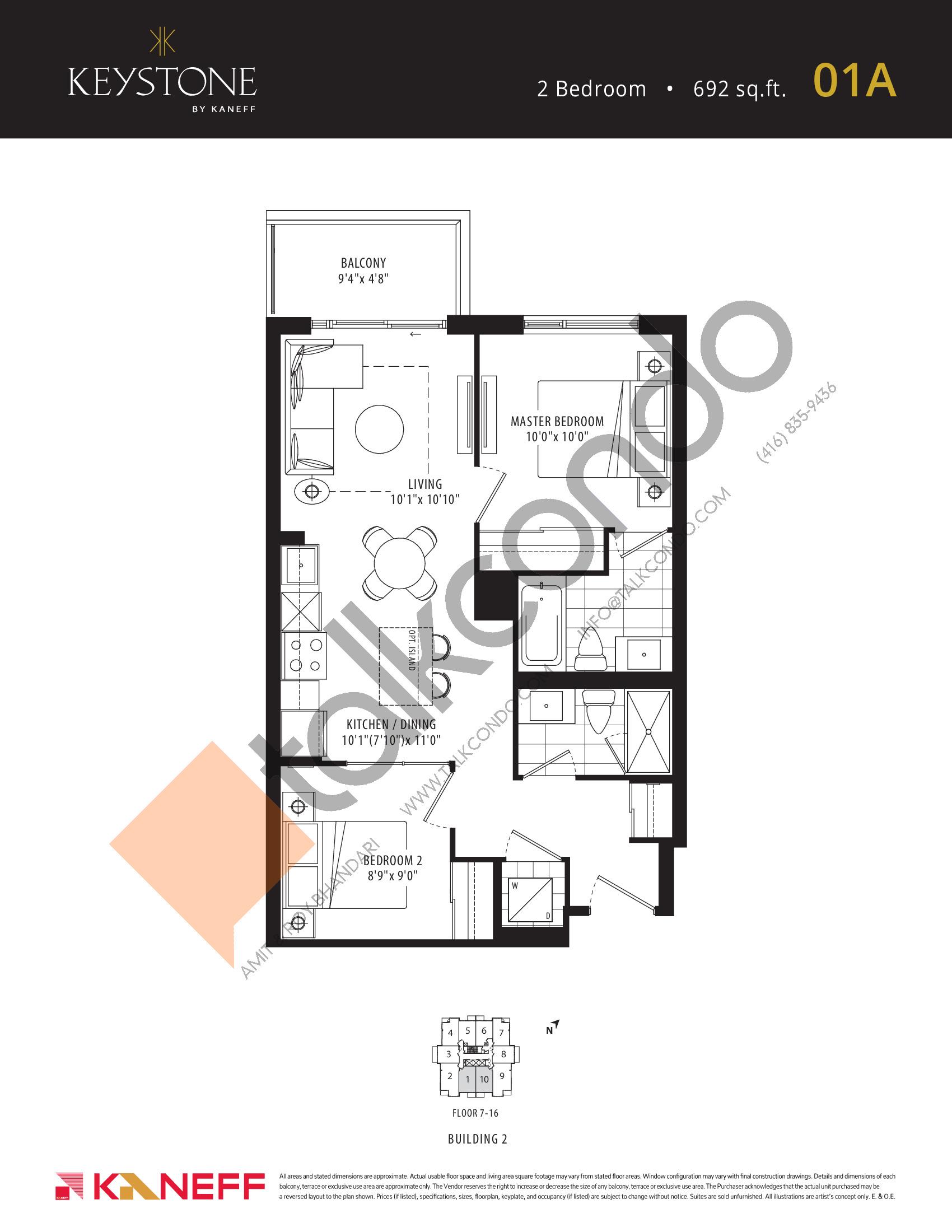 01A Floor Plan at Keystone Condos Phase 2 - 692 sq.ft