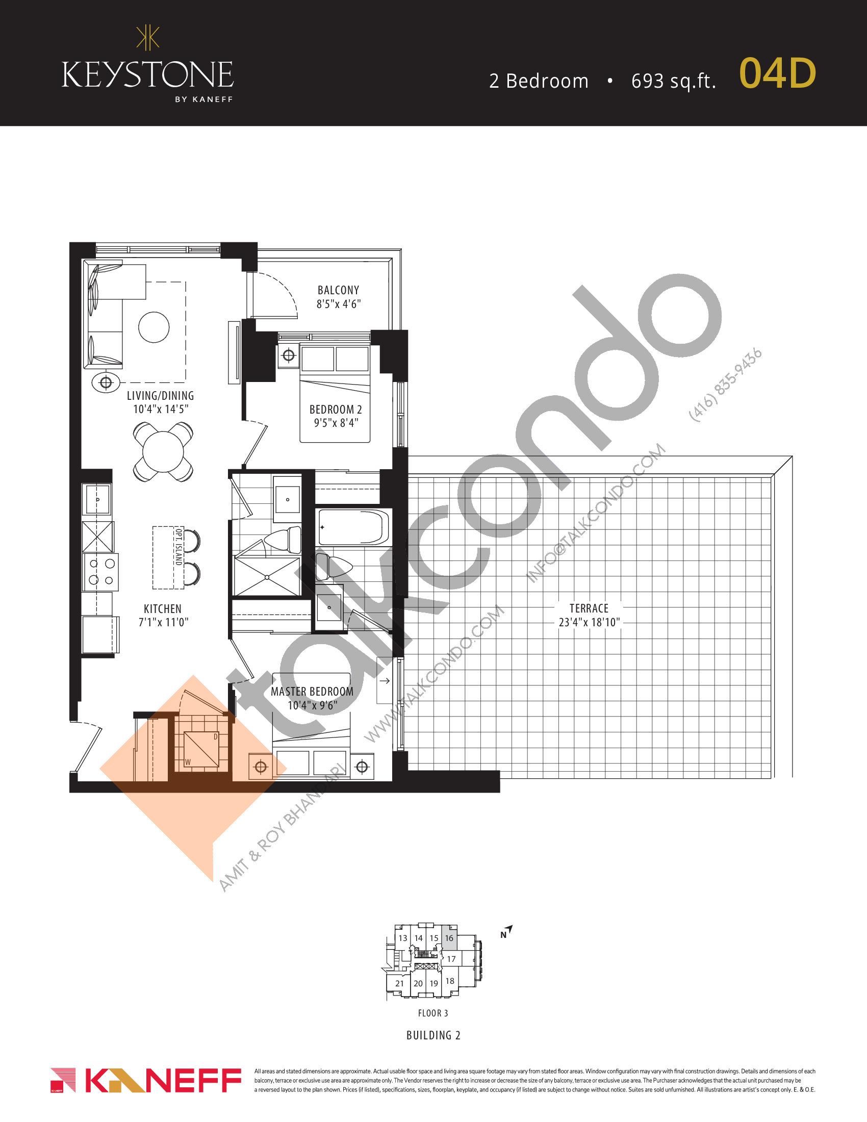 04D Floor Plan at Keystone Condos Phase 2 - 693 sq.ft