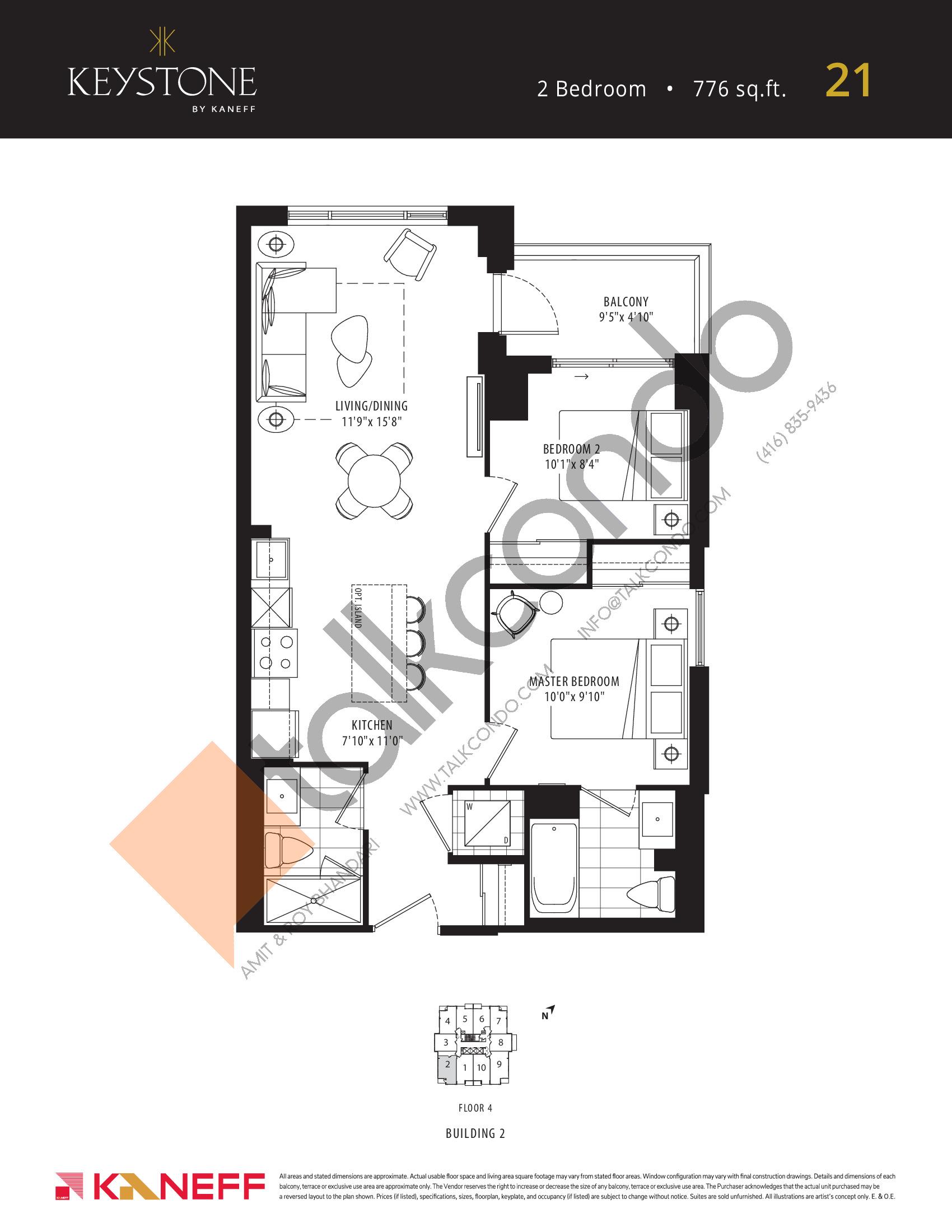 21 Floor Plan at Keystone Condos Phase 2 - 776 sq.ft