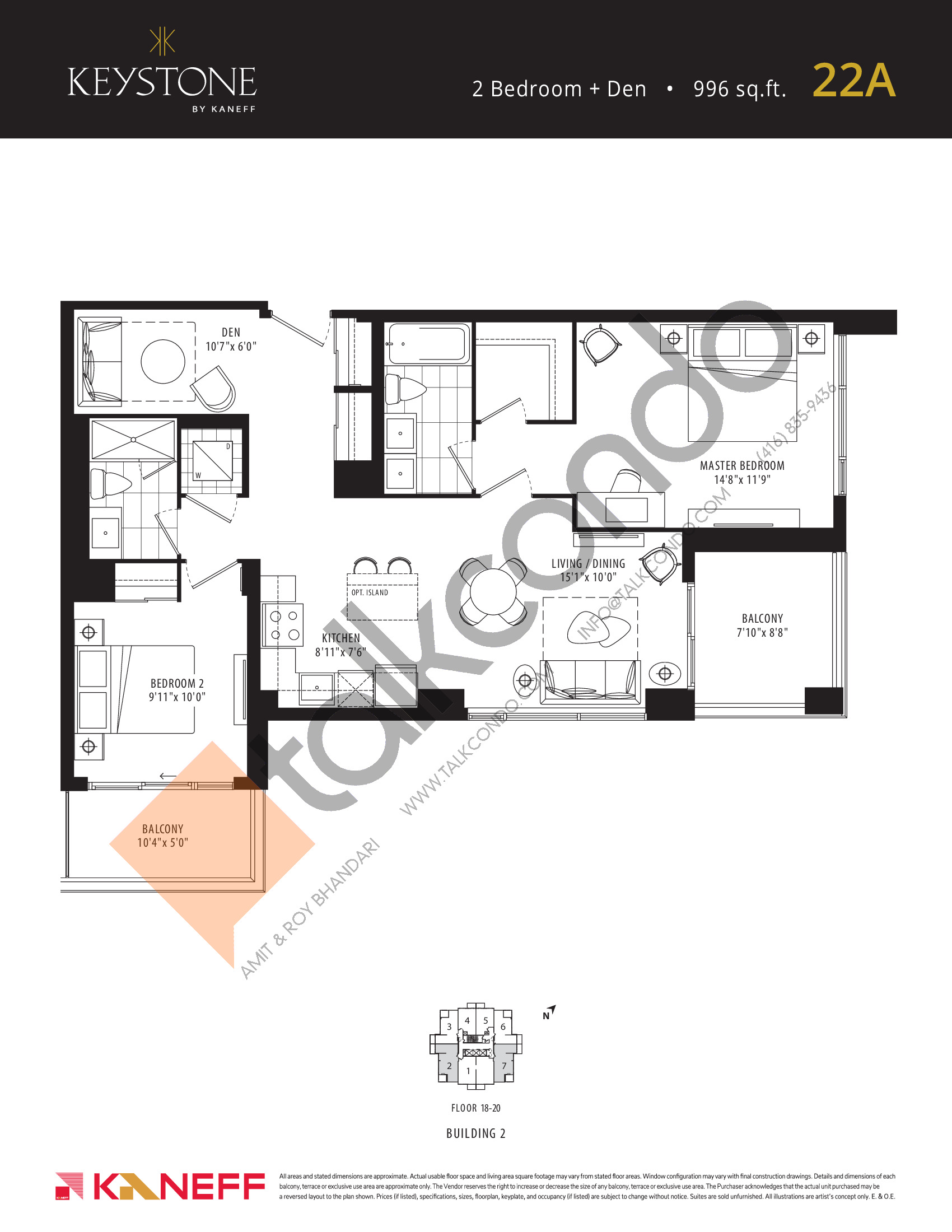 22A Floor Plan at Keystone Condos Phase 2 - 996 sq.ft