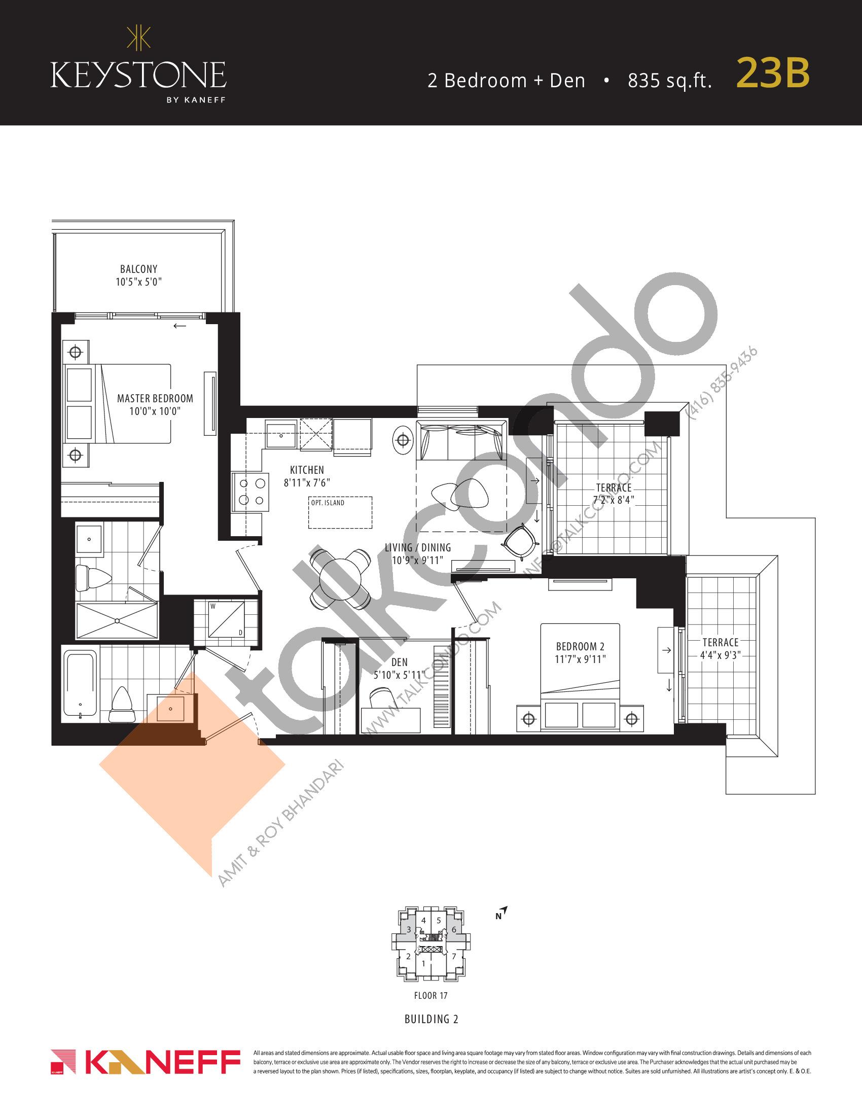 23B Floor Plan at Keystone Condos Phase 2 - 835 sq.ft