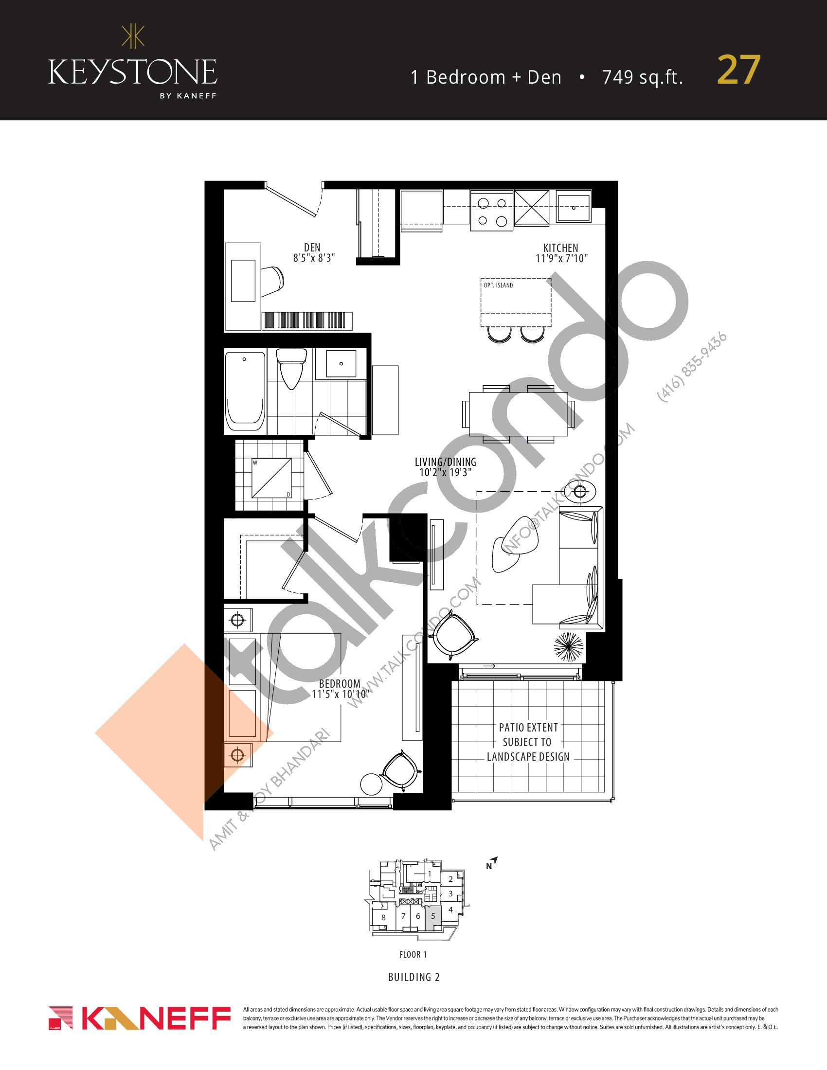 27 Floor Plan at Keystone Condos Phase 2 - 749 sq.ft