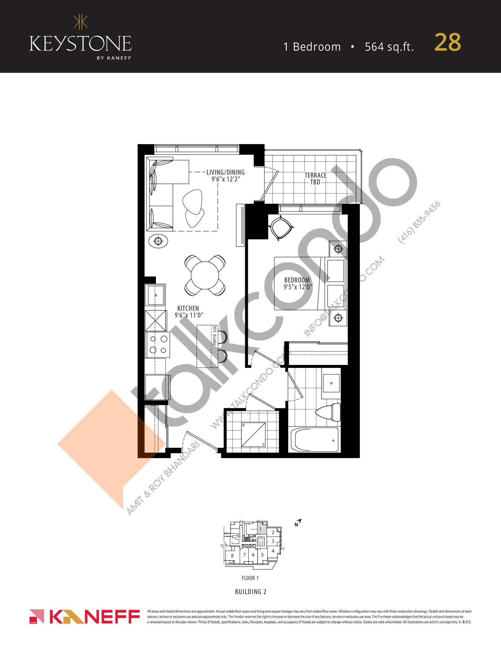 28 Floor Plan at Keystone Condos Phase 2 - 564 sq.ft