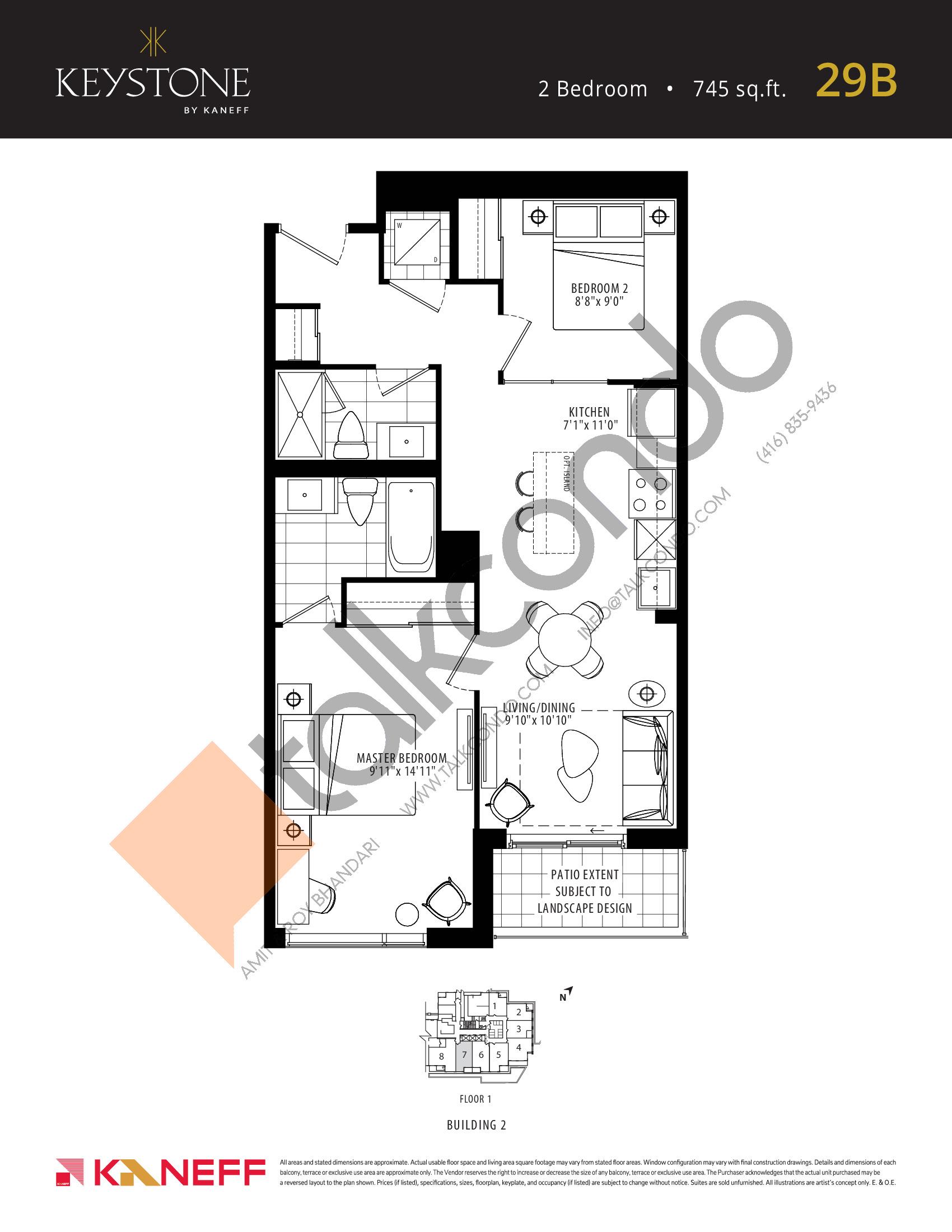 29B Floor Plan at Keystone Condos Phase 2 - 745 sq.ft