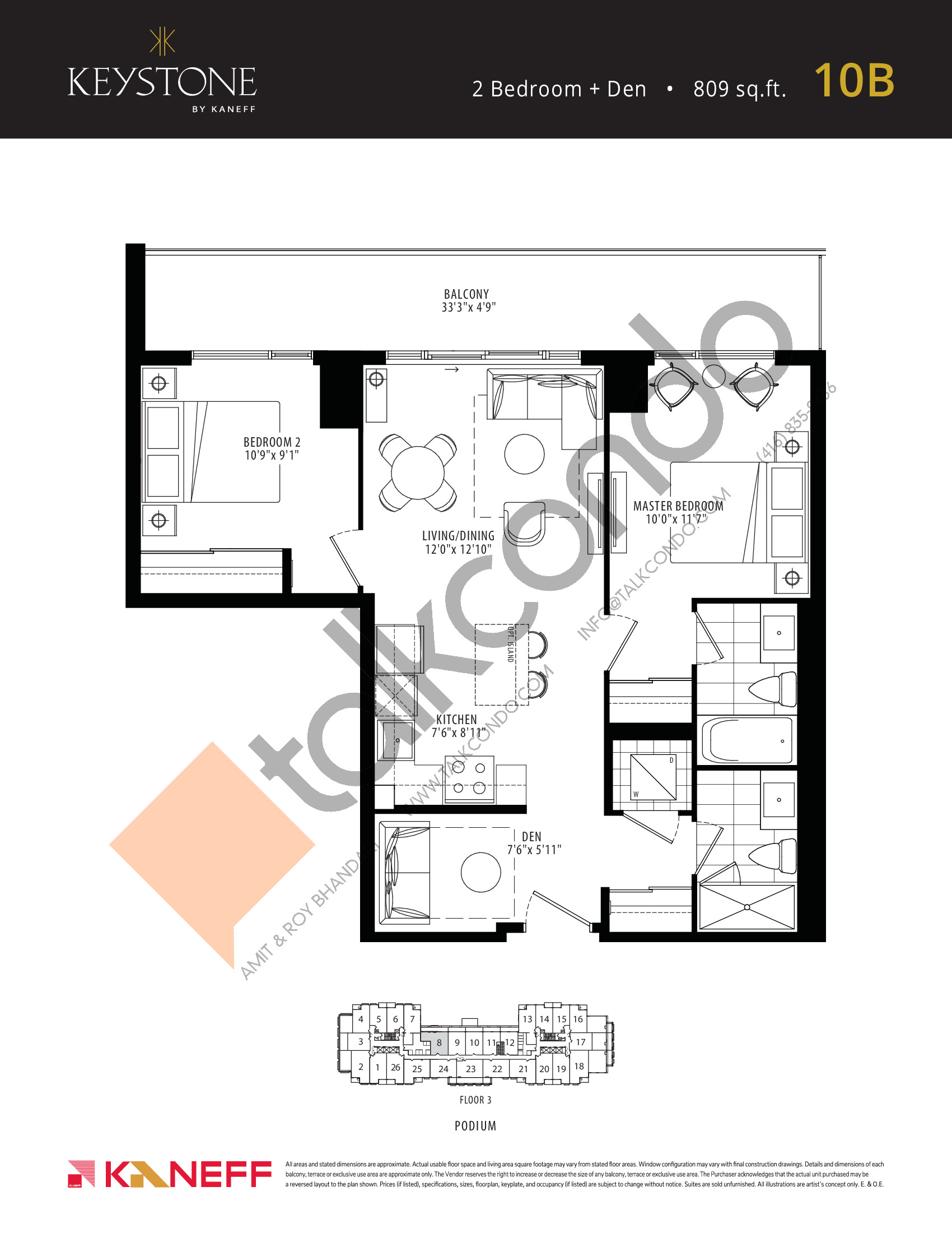 10B Floor Plan at Keystone Condos Phase 2 - 809 sq.ft