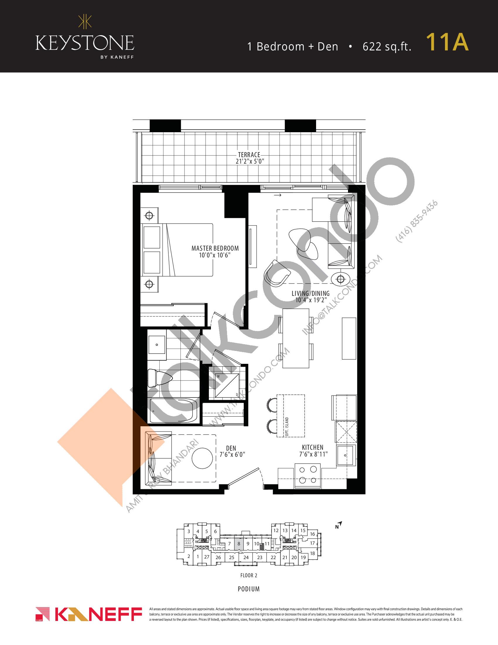 11A Floor Plan at Keystone Condos Phase 2 - 622 sq.ft