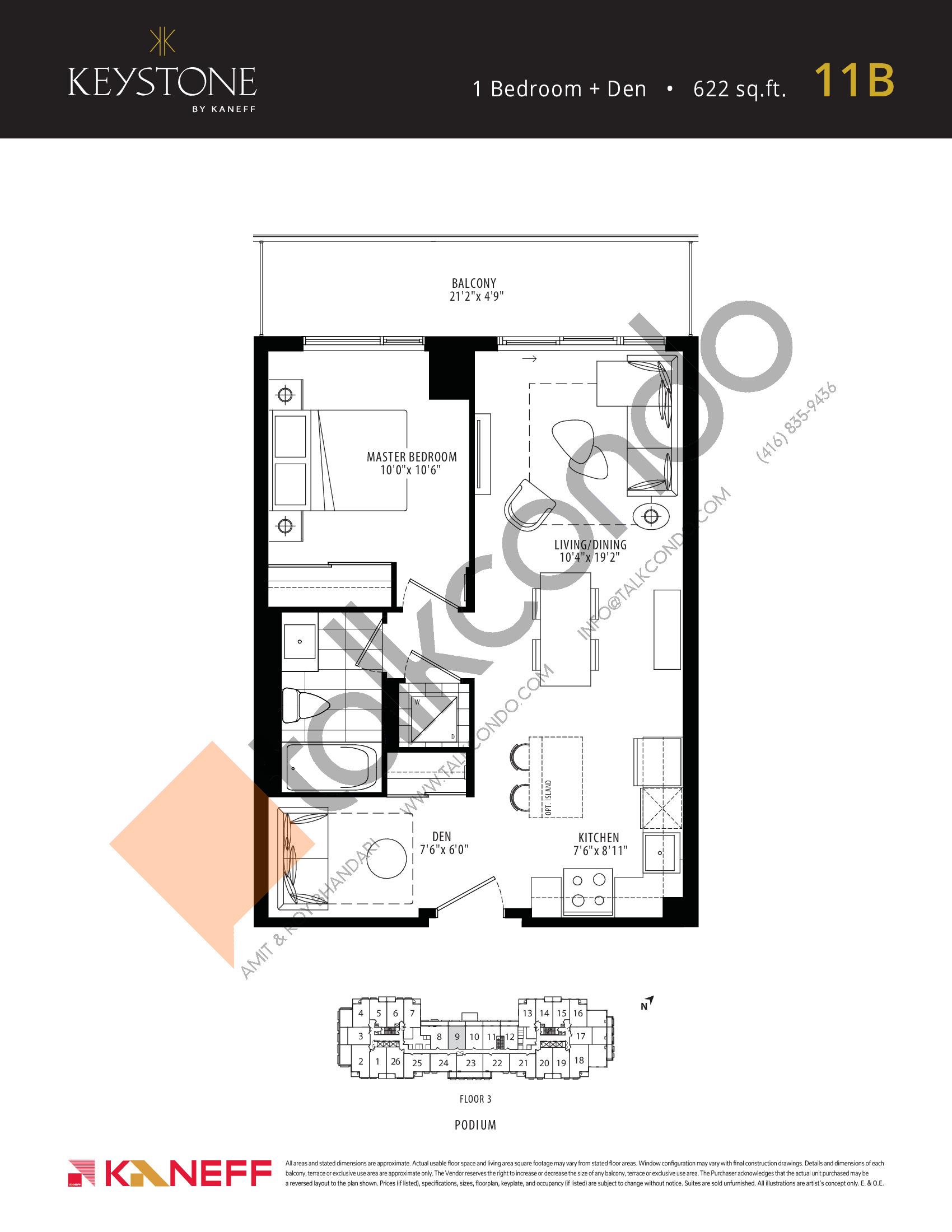 11B Floor Plan at Keystone Condos Phase 2 - 622 sq.ft