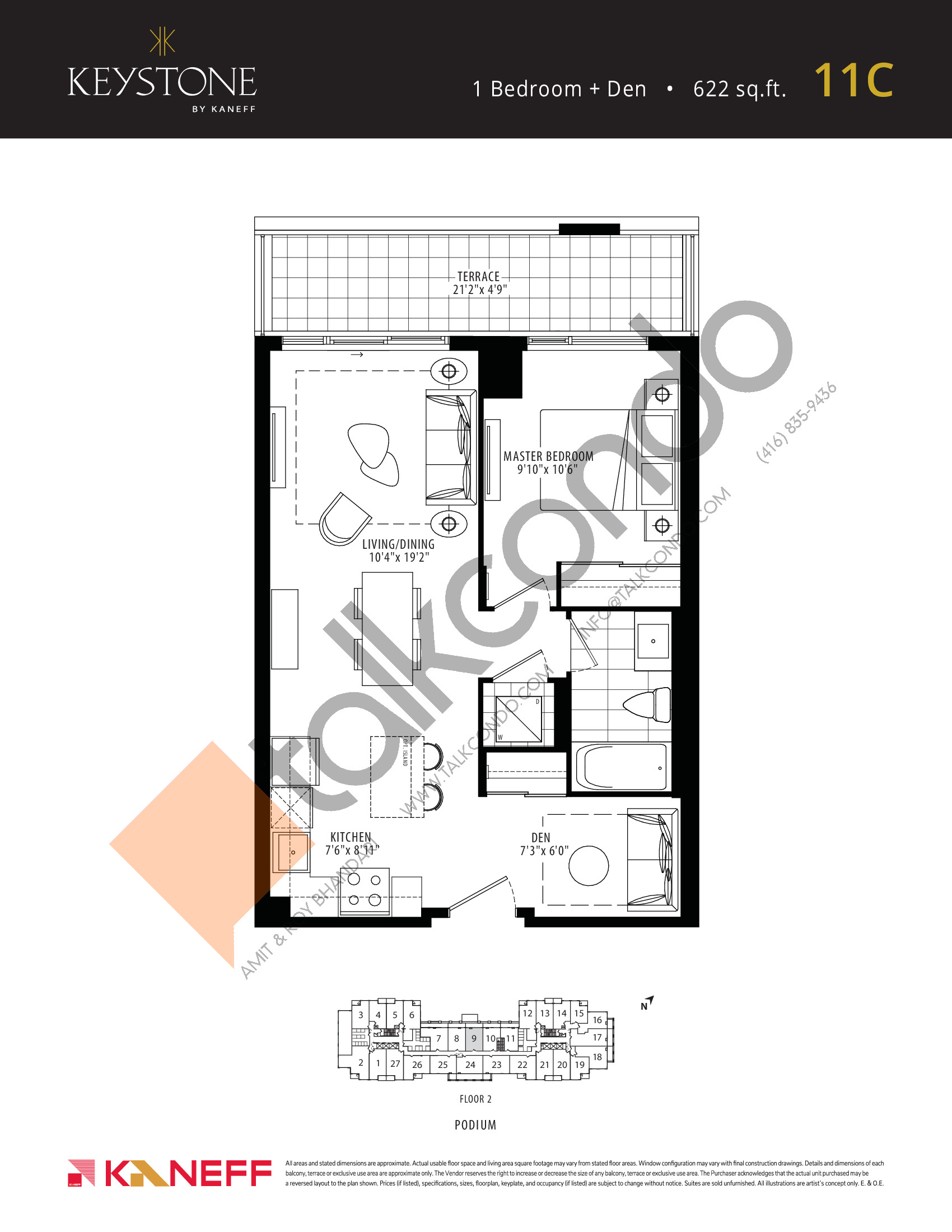 11C Floor Plan at Keystone Condos Phase 2 - 622 sq.ft
