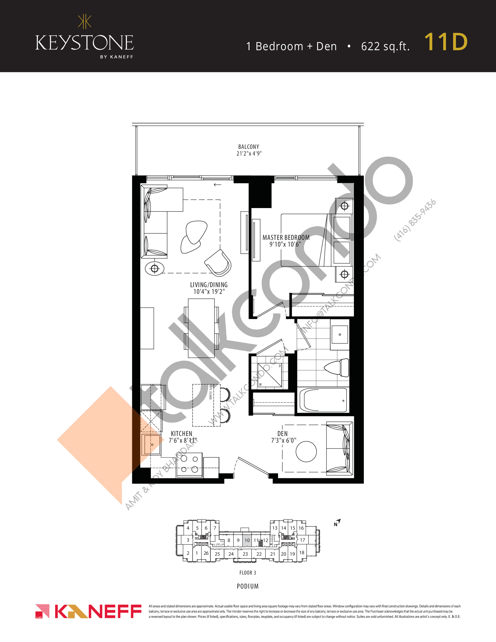 11D Floor Plan at Keystone Condos Phase 2 - 622 sq.ft