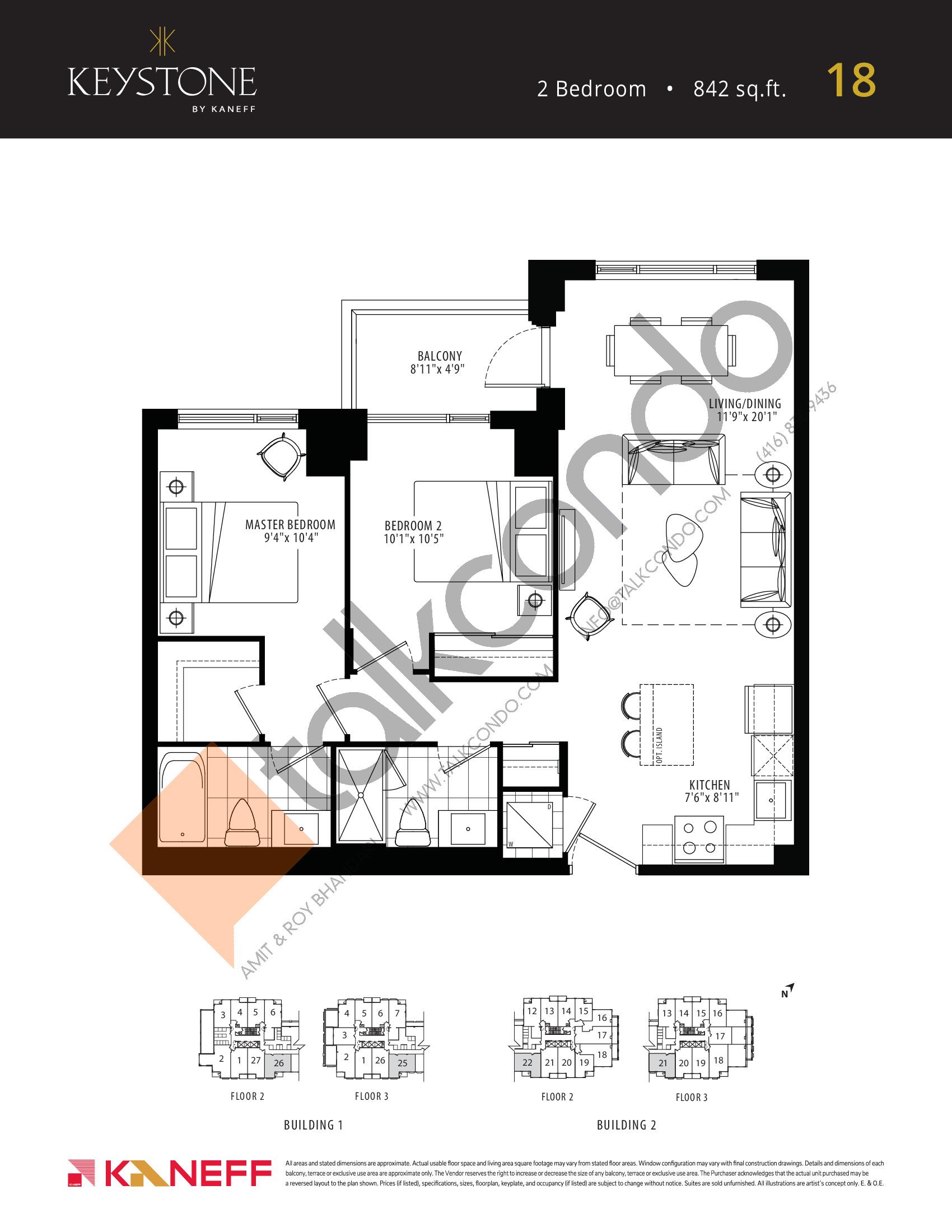 18 Floor Plan at Keystone Condos Phase 2 - 842 sq.ft