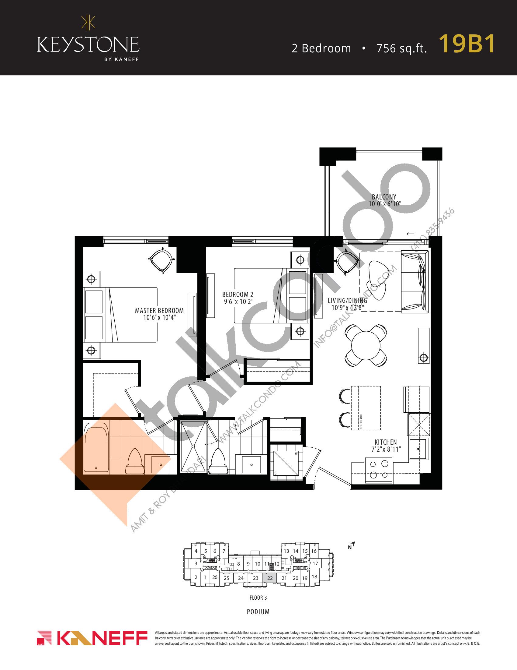 19B1 Floor Plan at Keystone Condos Phase 2 - 756 sq.ft
