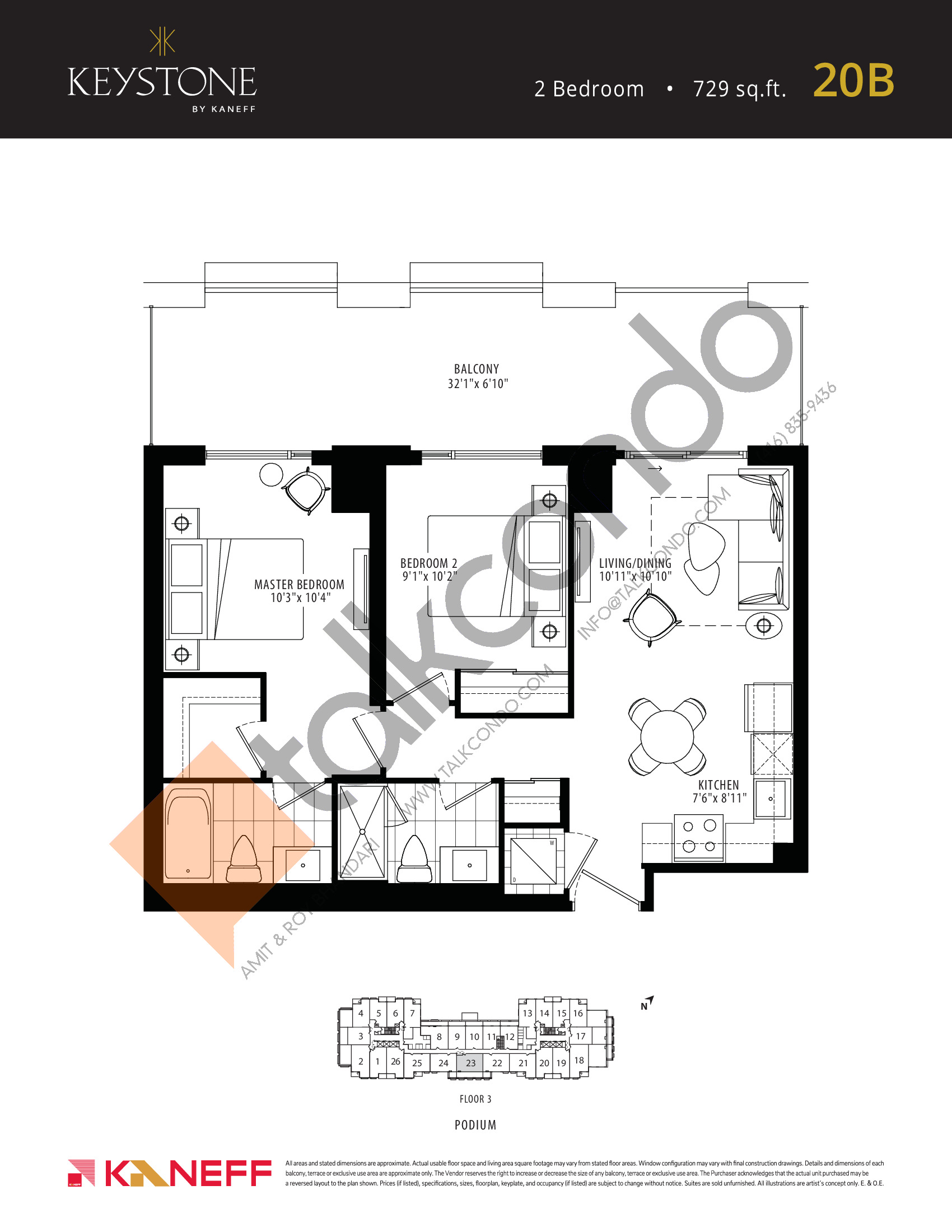 20B Floor Plan at Keystone Condos Phase 2 - 729 sq.ft