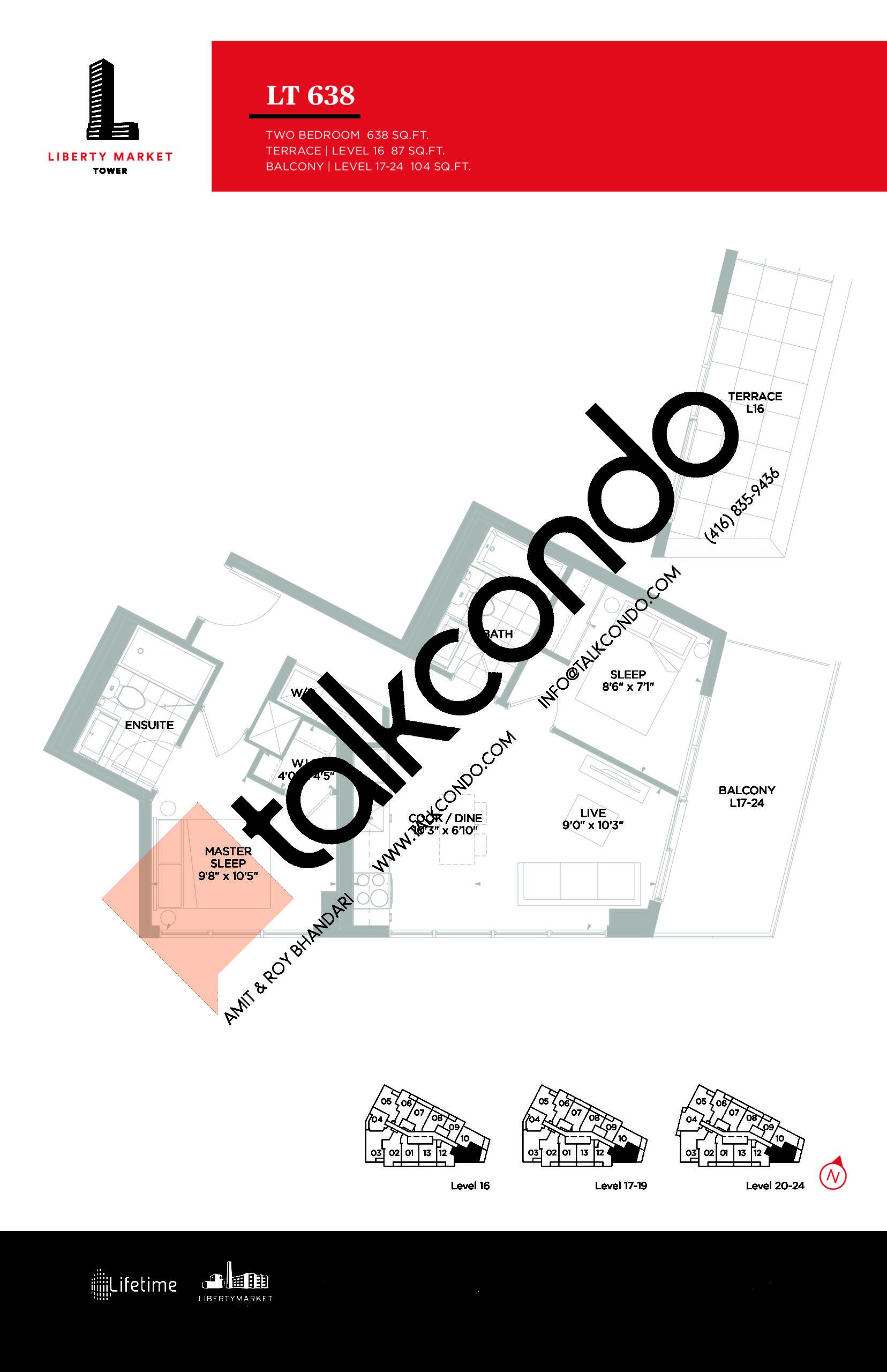 LT 638 Floor Plan at Liberty Market Tower Condos - 638 sq.ft