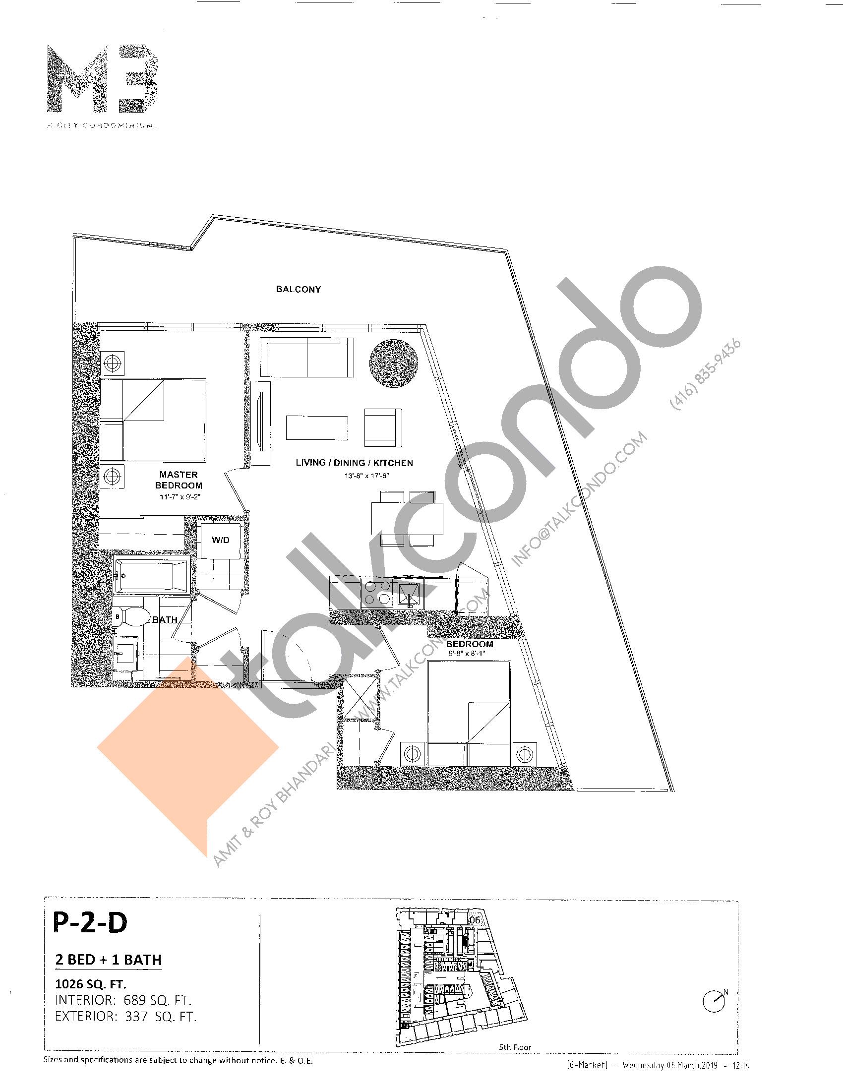 P-2-D Floor Plan at M3 Condos - 689 sq.ft