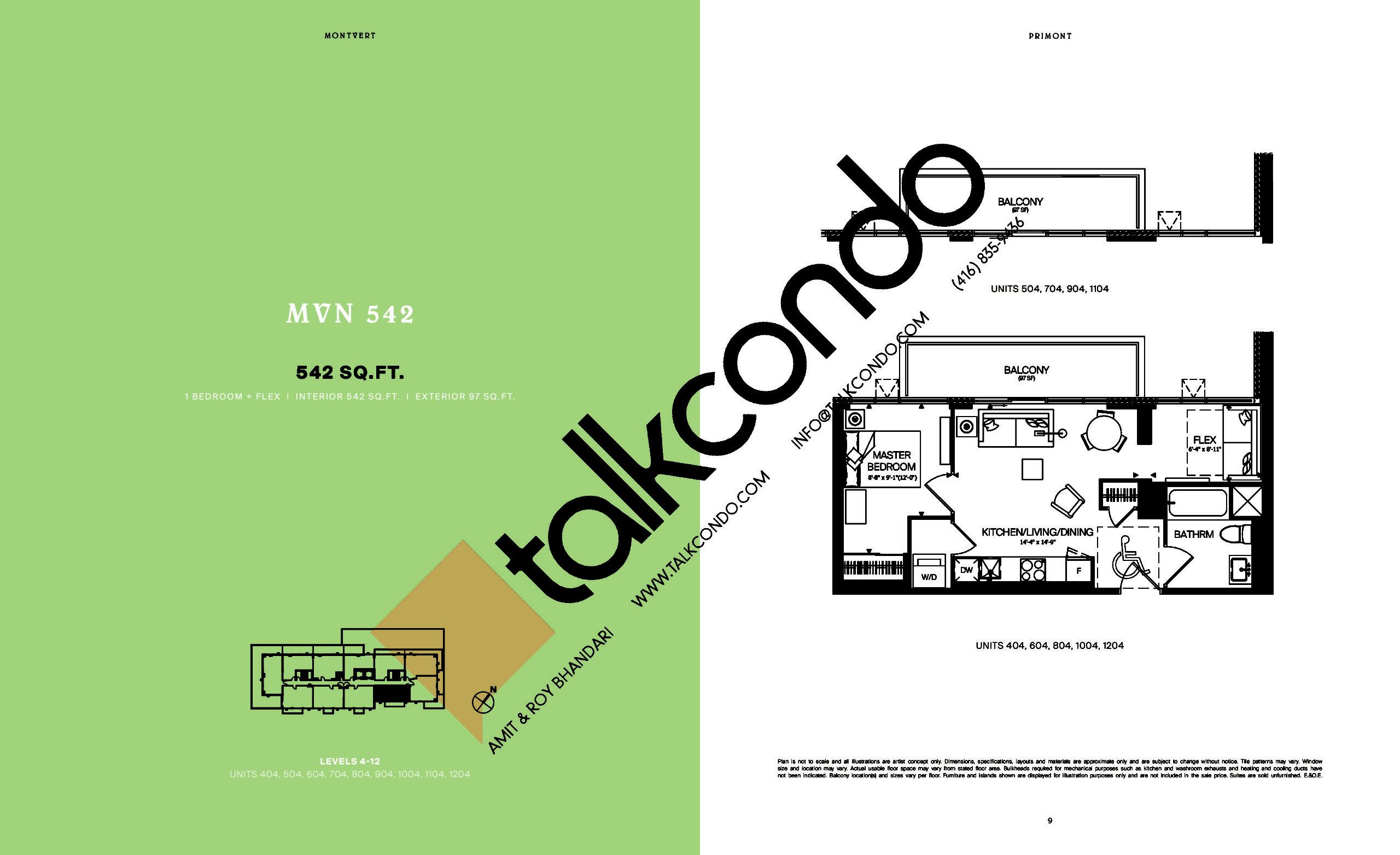 MVN 542 Floor Plan at MontVert Condos - 542 sq.ft