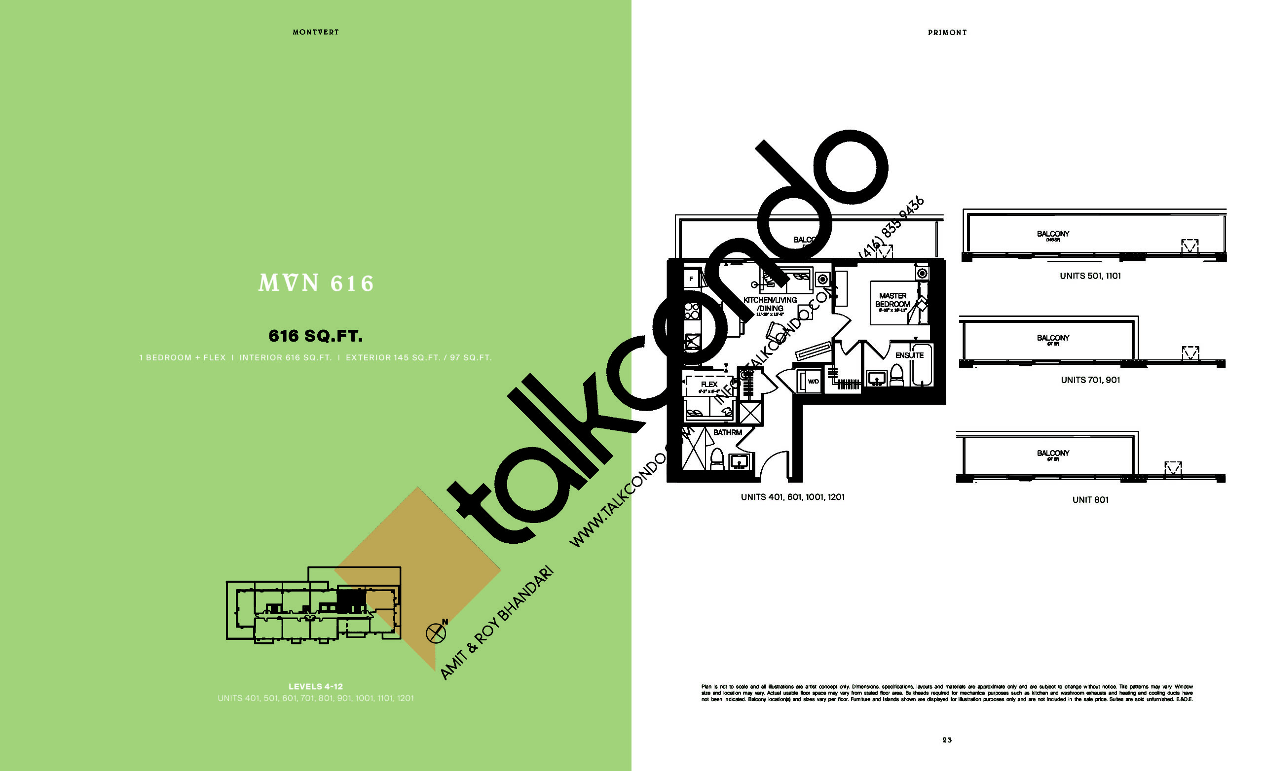 MVN 616 Floor Plan at MontVert Condos - 616 sq.ft