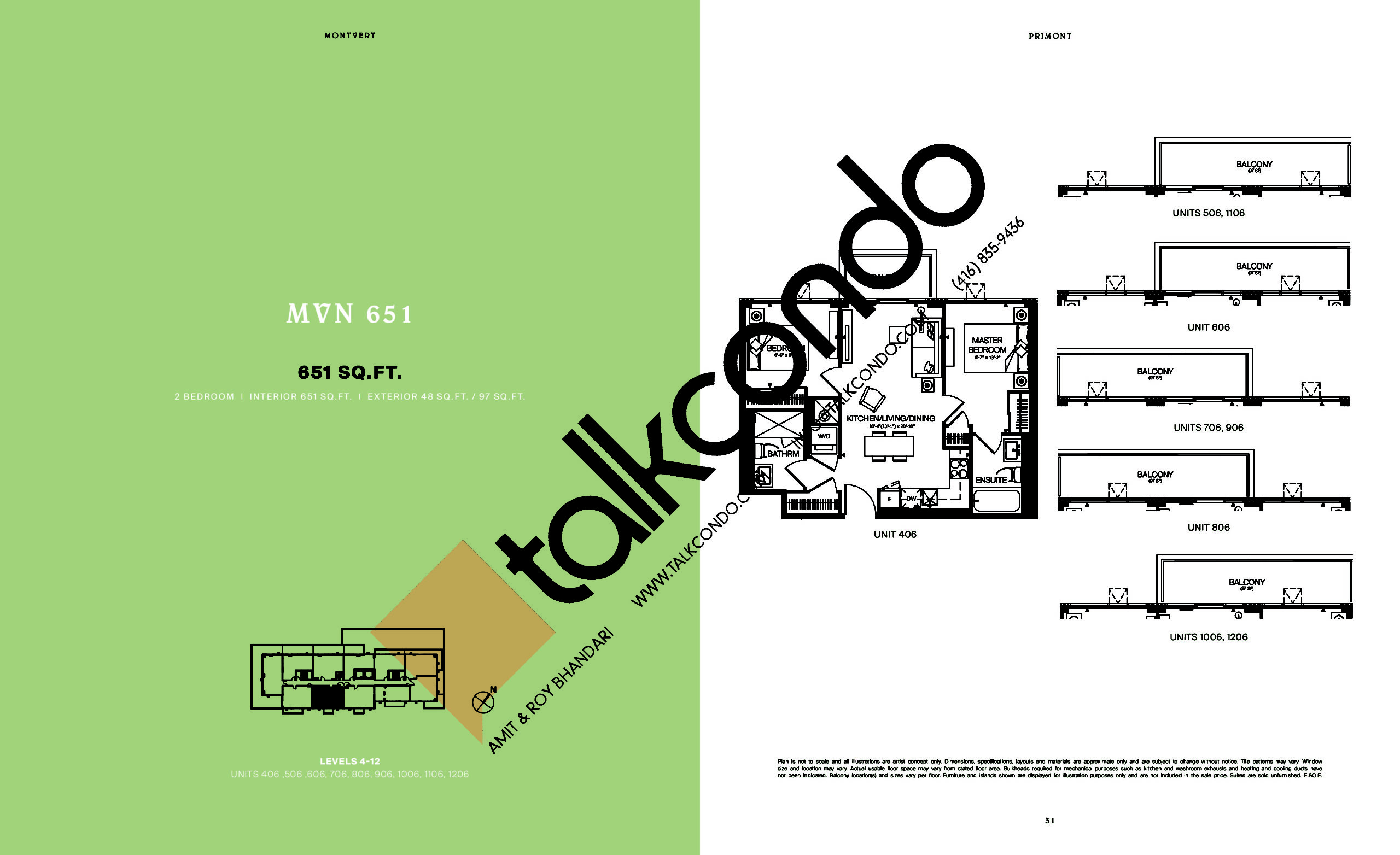 MVN 651 Floor Plan at MontVert Condos - 651 sq.ft