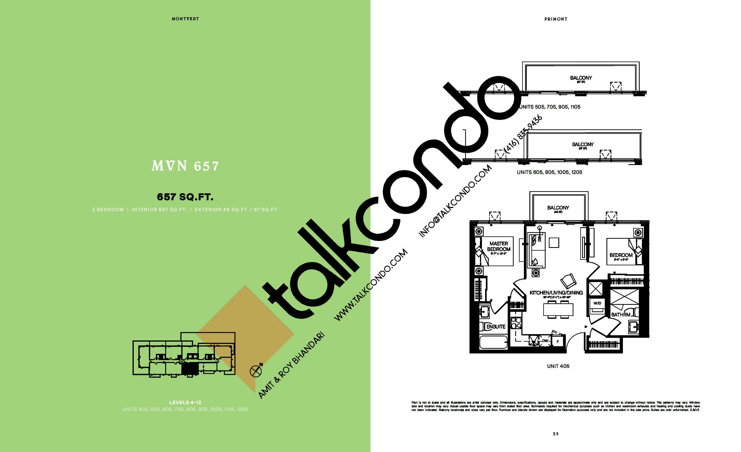 MVN 657 Floor Plan at MontVert Condos - 657 sq.ft