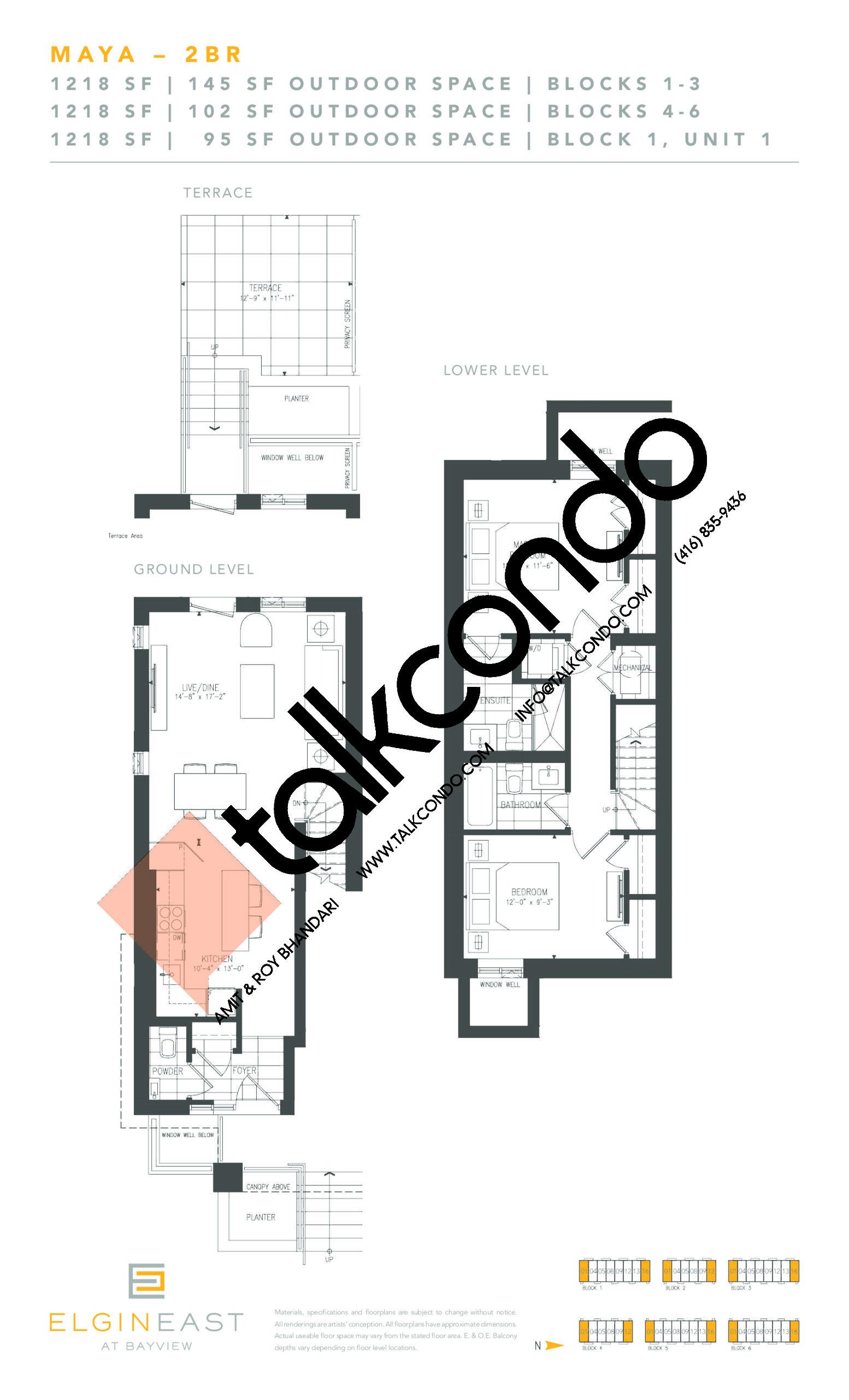 Maya Floor Plan at NEXT - Elgin East Phase 2 Condos - 1218 sq.ft