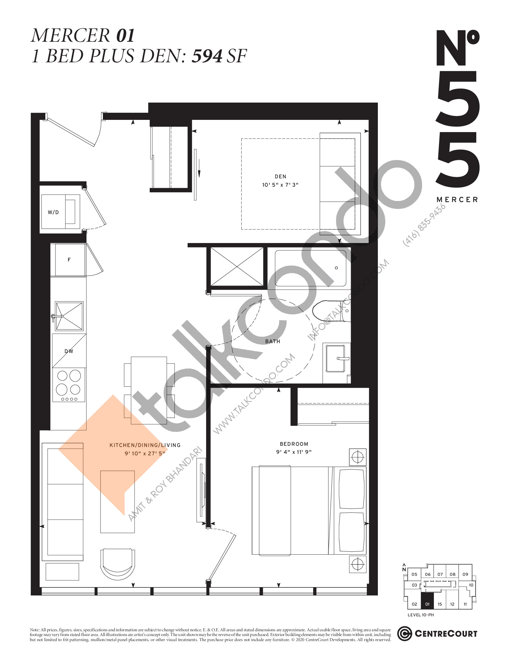 Mercer 01 Floor Plan at No. 55 Mercer Condos - 594 sq.ft