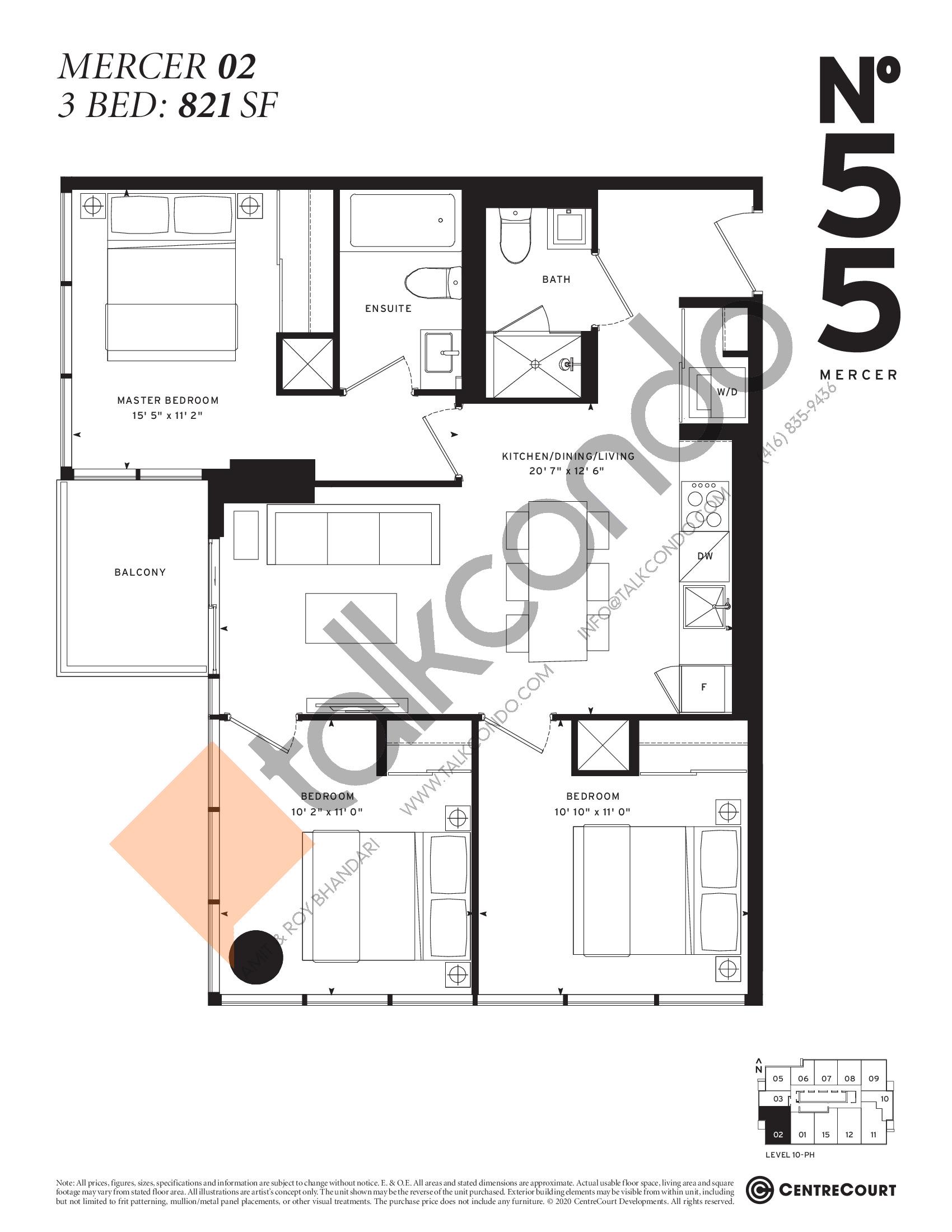 Mercer 02 Floor Plan at No. 55 Mercer Condos - 821 sq.ft