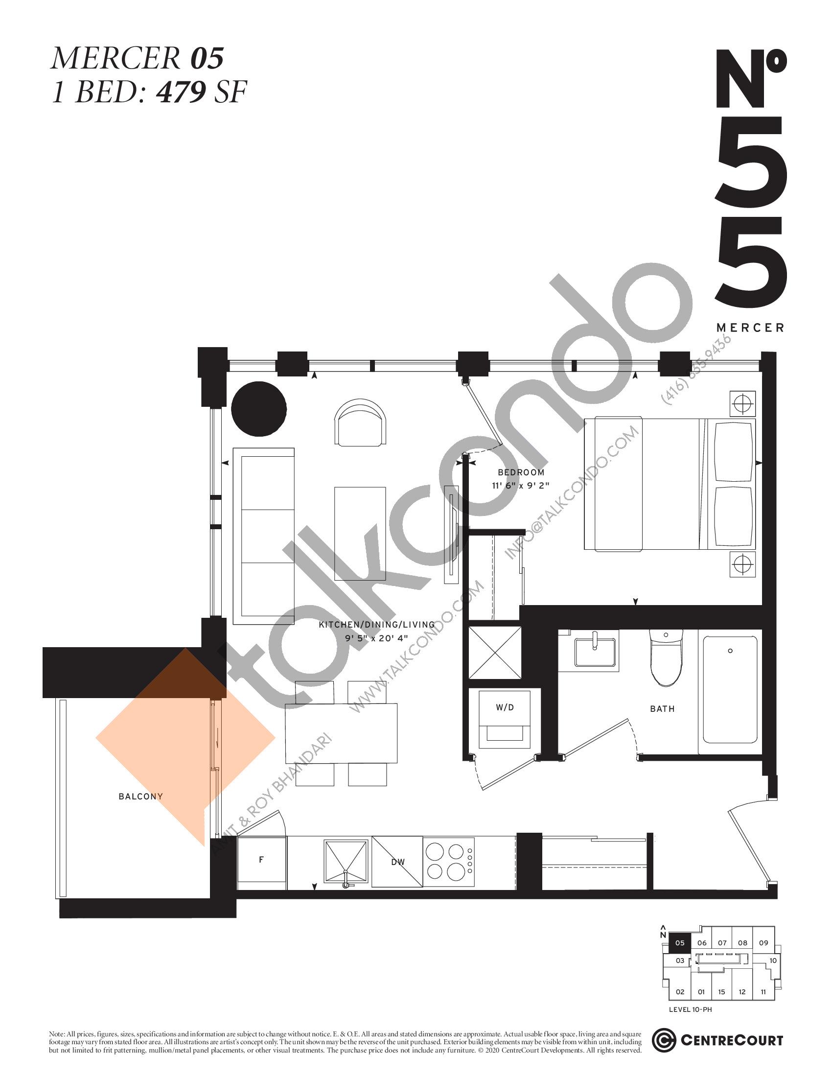 Mercer 05 Floor Plan at No. 55 Mercer Condos - 479 sq.ft