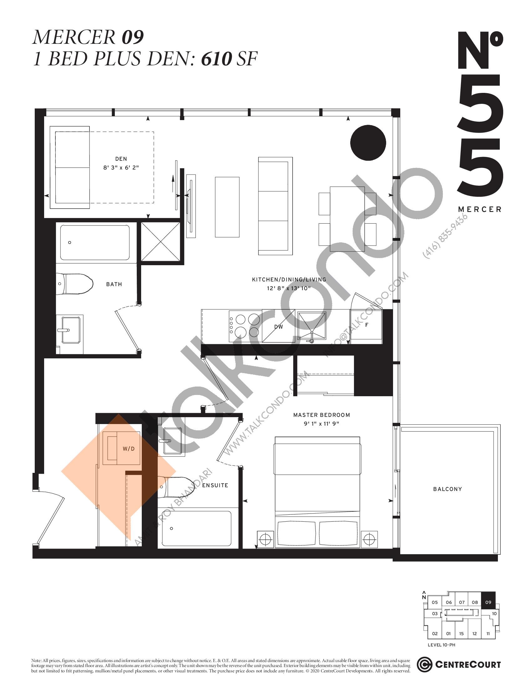 Mercer 09 Floor Plan at No. 55 Mercer Condos - 610 sq.ft