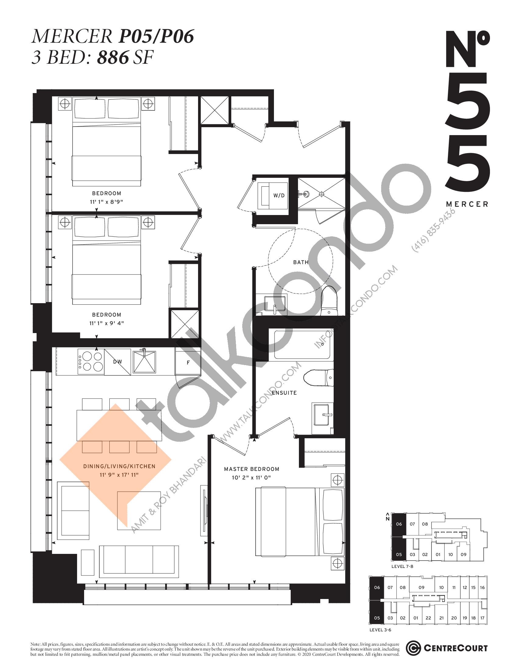 Mercer P05/P06 Floor Plan at No. 55 Mercer Condos - 886 sq.ft