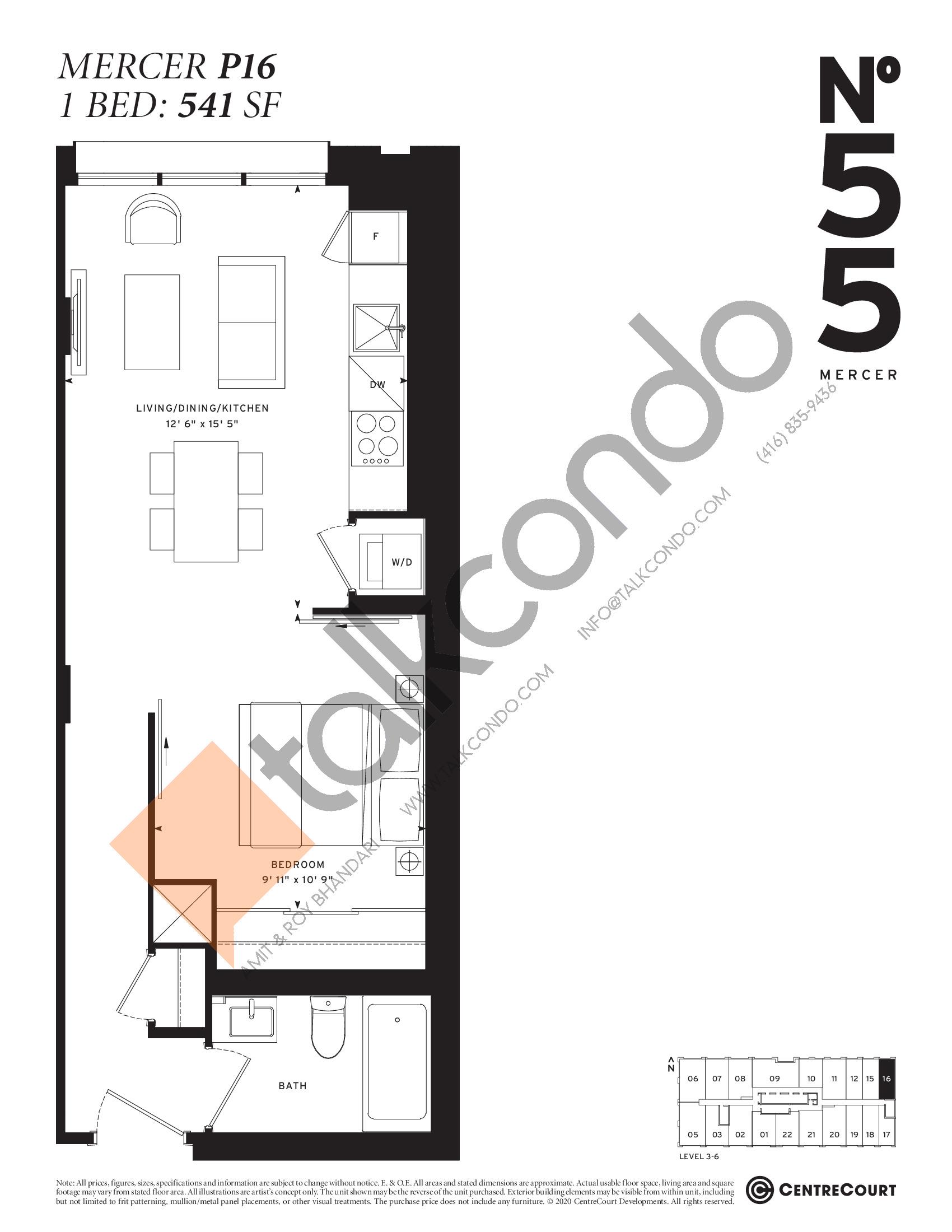 Mercer P16 Floor Plan at No. 55 Mercer Condos - 541 sq.ft
