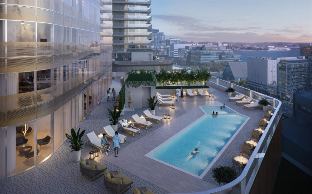 outdoor pool at sky tower condos