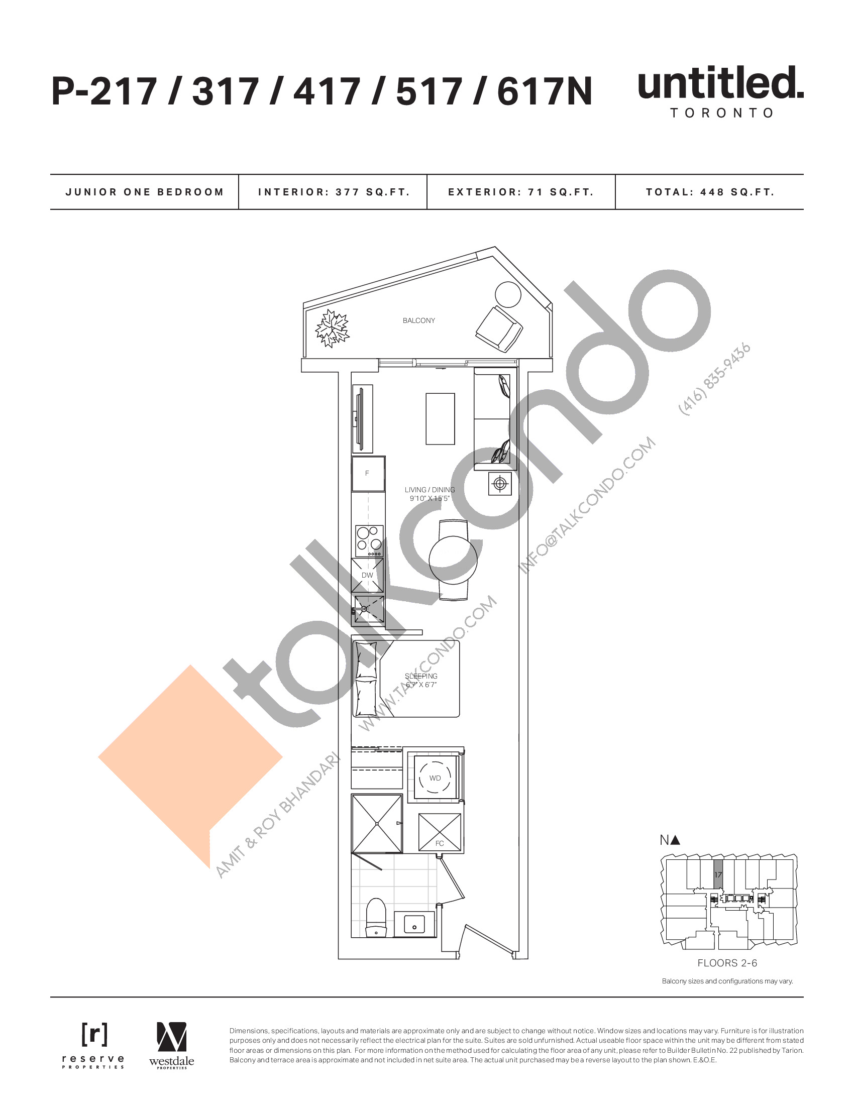 P-217/317/417/517/617N Floor Plan at Untitled North Tower Condos - 377 sq.ft