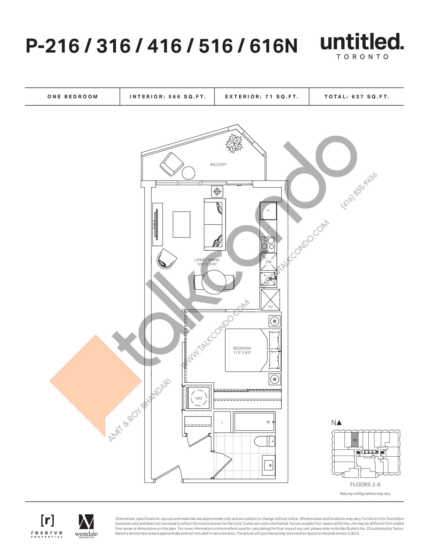 P-216/316/416/516/616N Floor Plan at Untitled North Tower Condos - 566 sq.ft