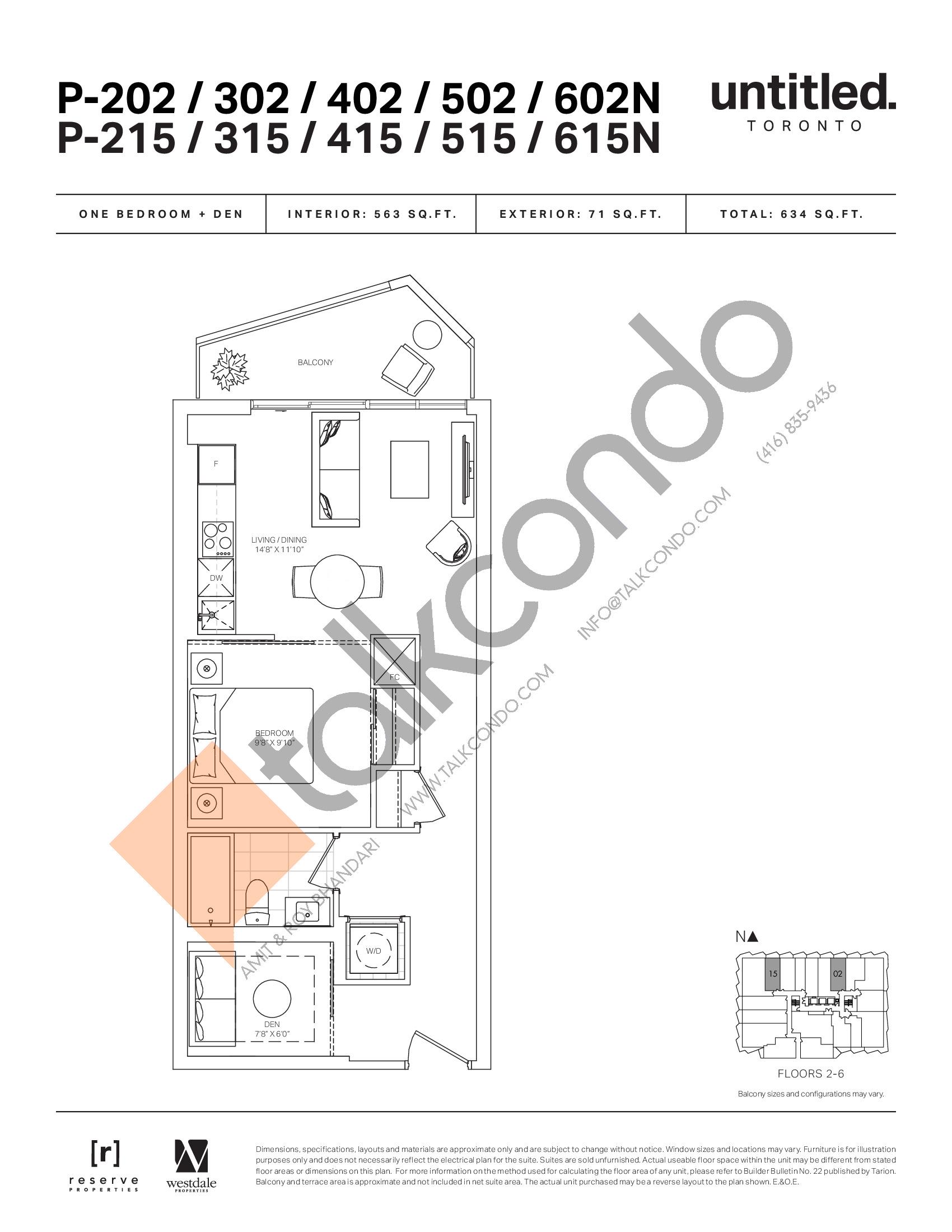 P-202/302/402/502/602N P-215/315/415/515/615N Floor Plan at Untitled North Tower Condos - 563 sq.ft