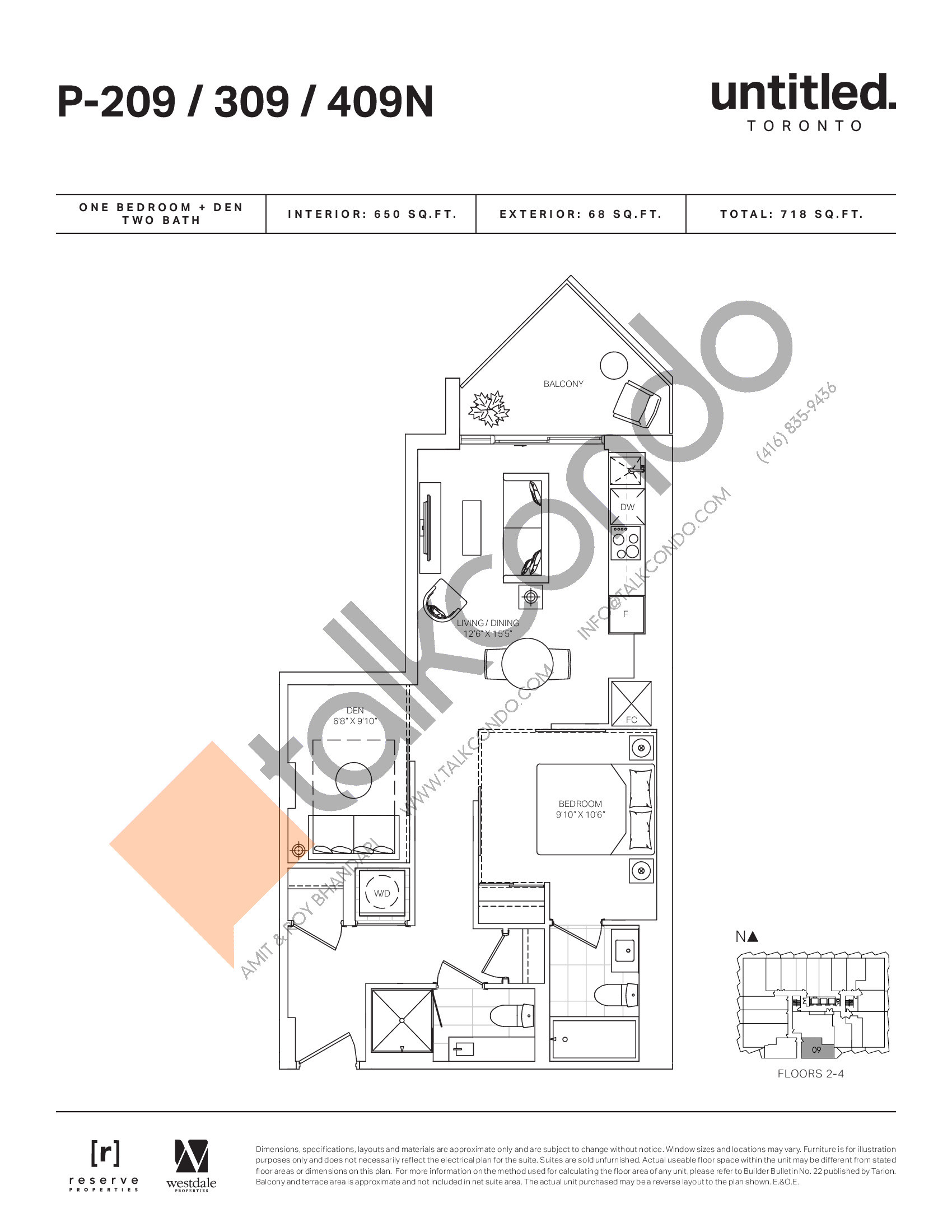 P-209/309/409N Floor Plan at Untitled North Tower Condos - 650 sq.ft