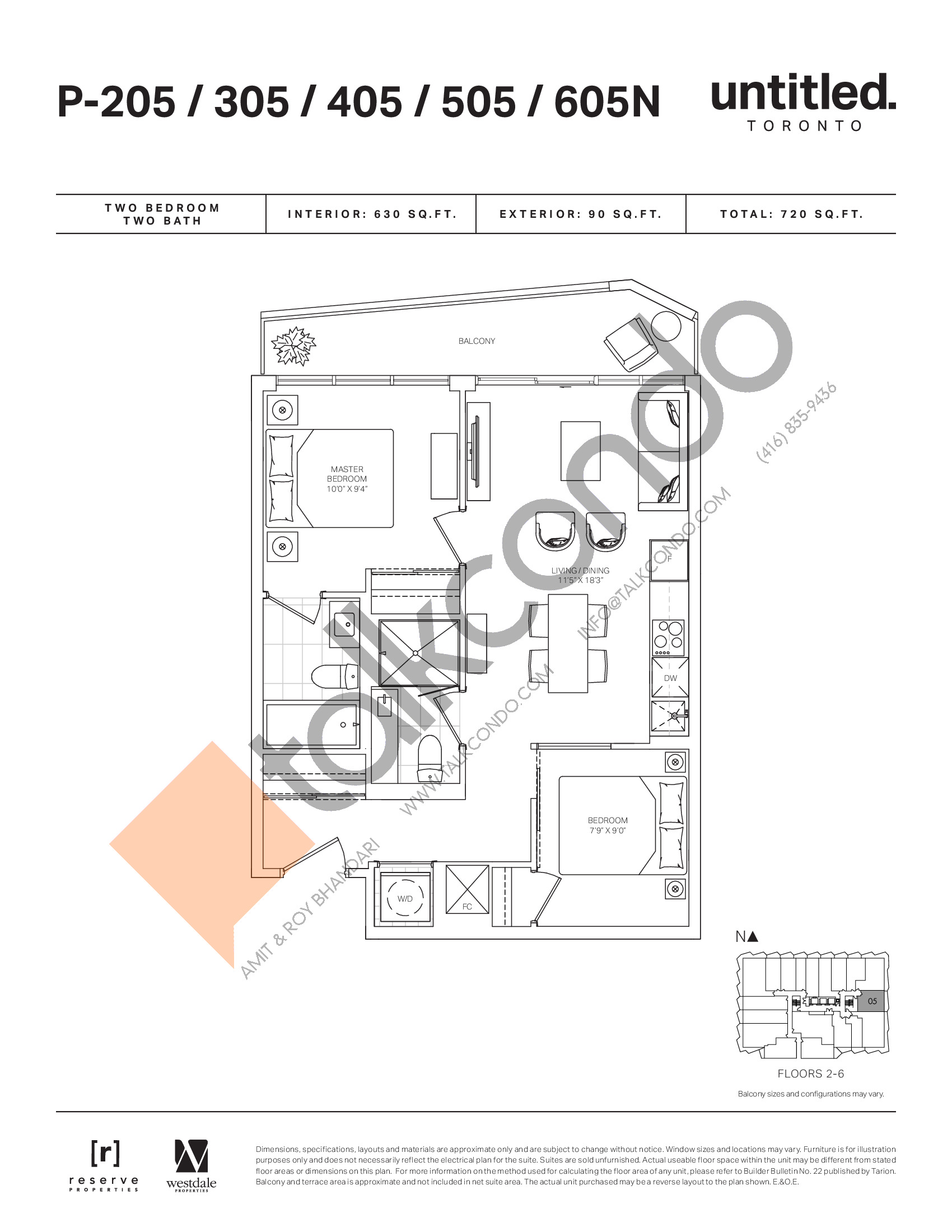 P-205/305/405/505/605N Floor Plan at Untitled North Tower Condos - 630 sq.ft