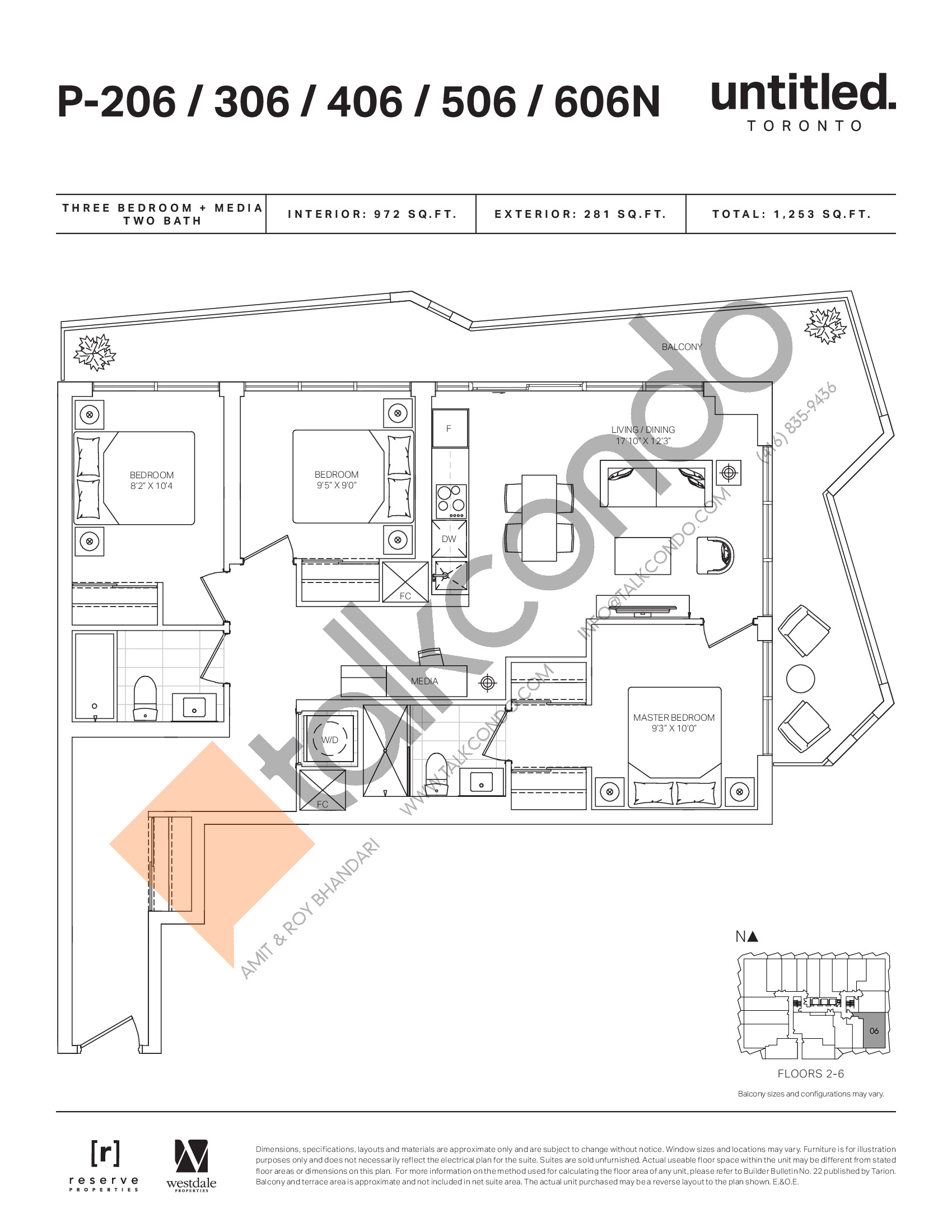 P-206/306/406/506/606N Floor Plan at Untitled North Tower Condos - 972 sq.ft