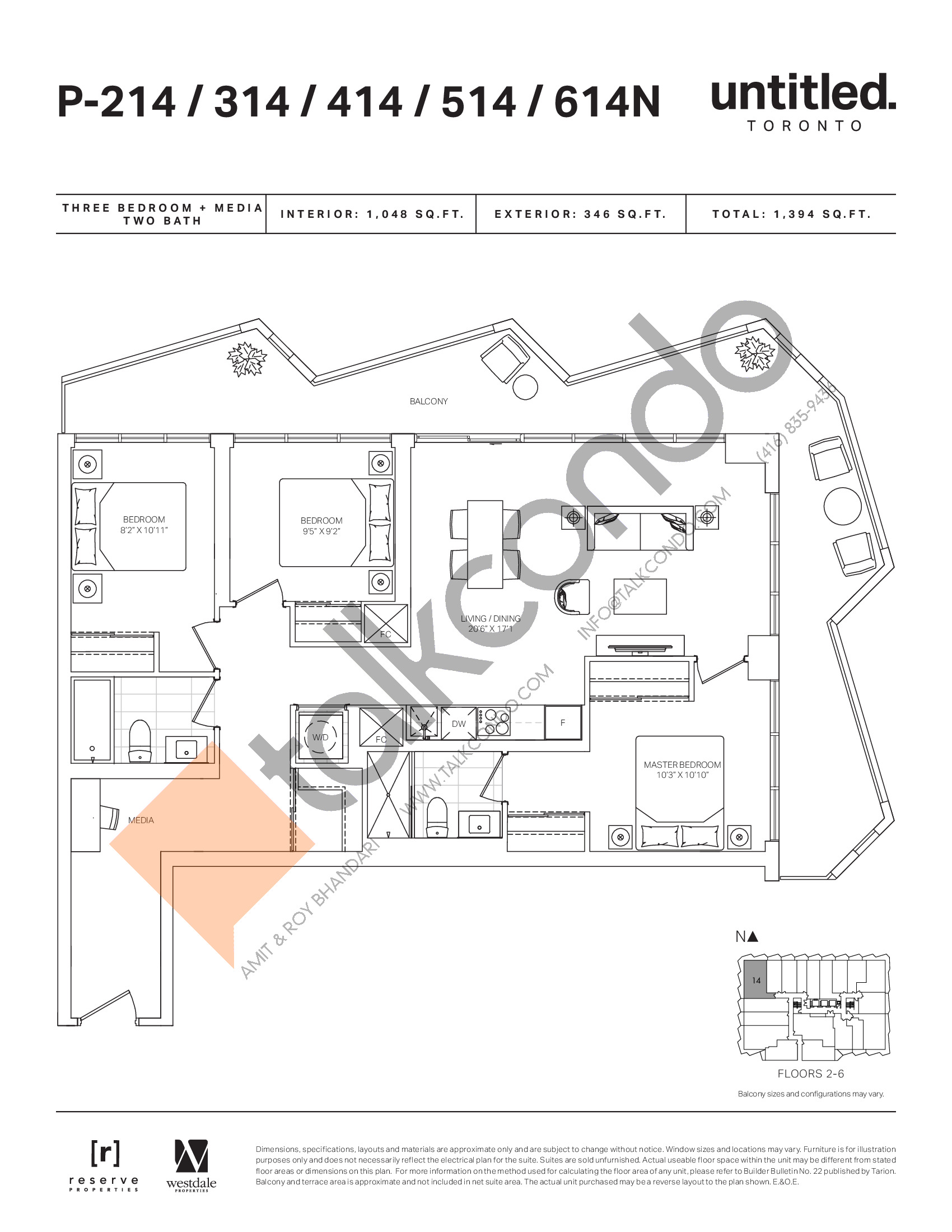 P-214/314/414/514/614N Floor Plan at Untitled North Tower Condos - 1048 sq.ft