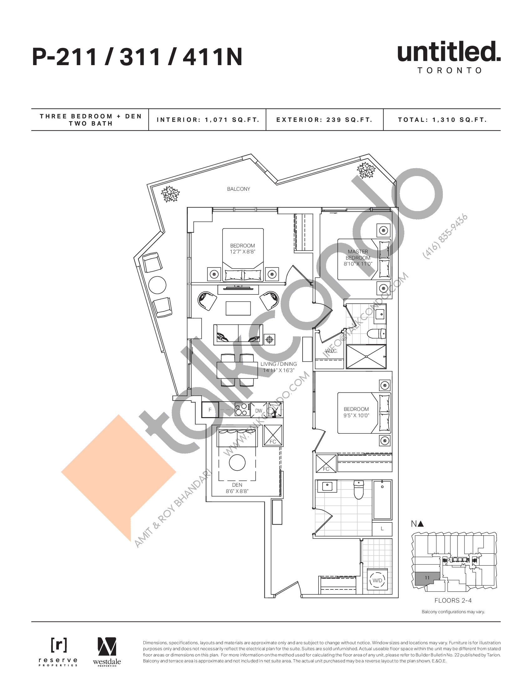 P-211/311/411N Floor Plan at Untitled North Tower Condos - 1071 sq.ft