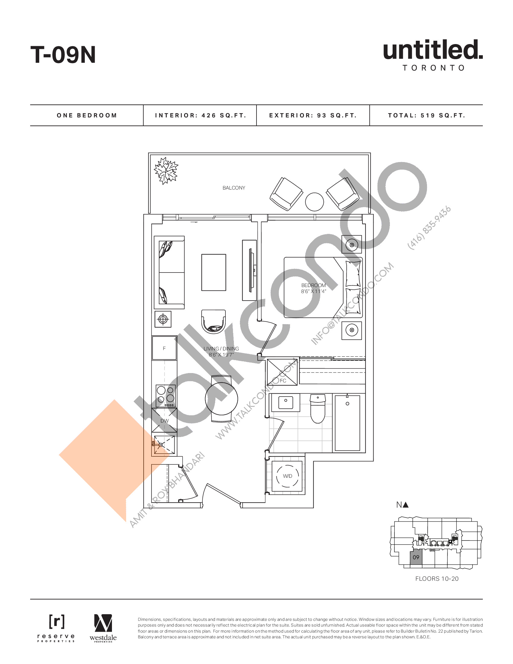 T-09N Floor Plan at Untitled North Tower Condos - 426 sq.ft