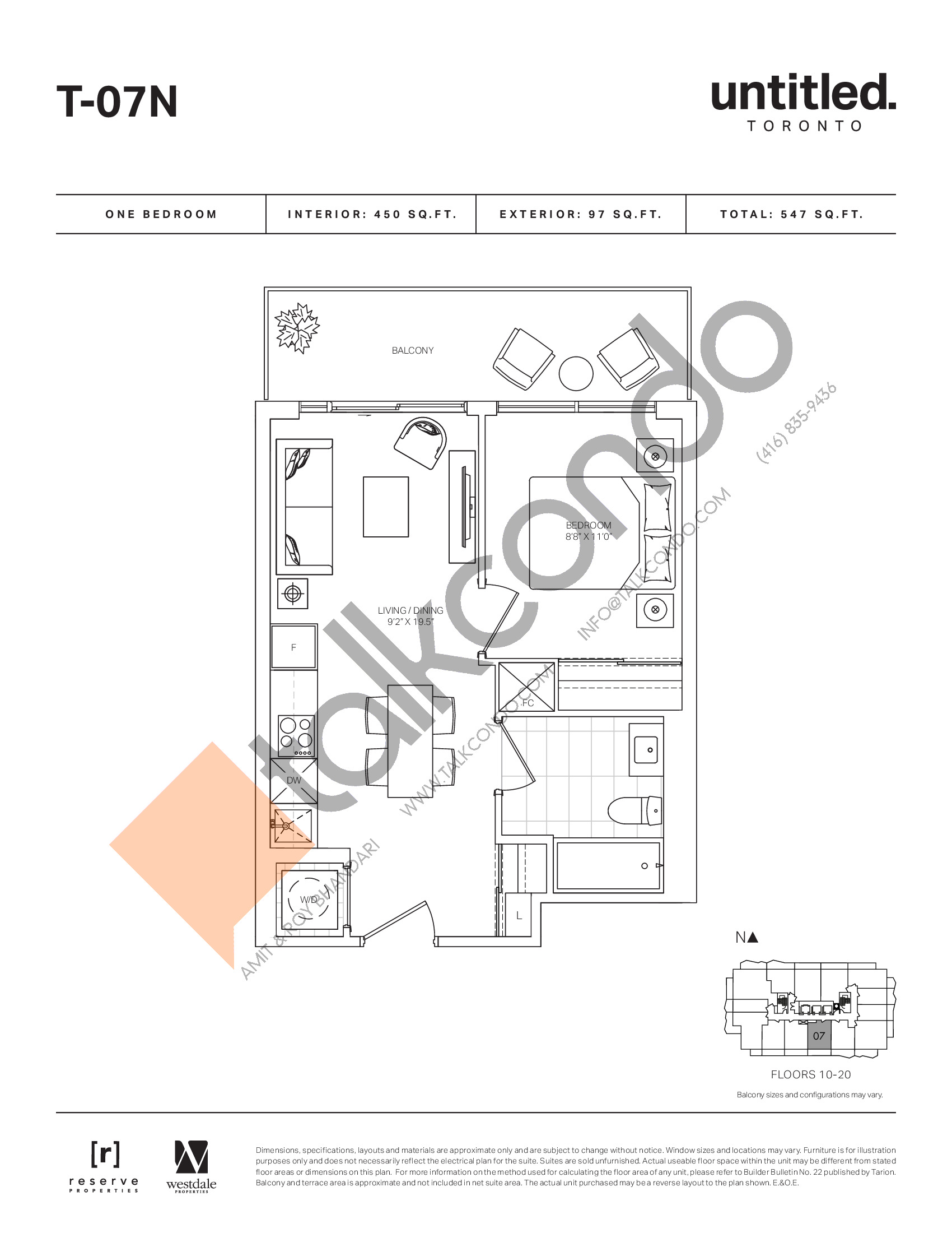 T-07N Floor Plan at Untitled North Tower Condos - 450 sq.ft
