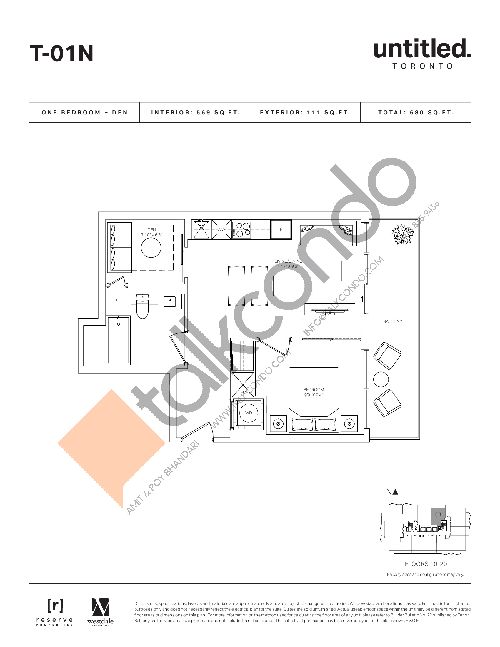 T-01N Floor Plan at Untitled North Tower Condos - 569 sq.ft