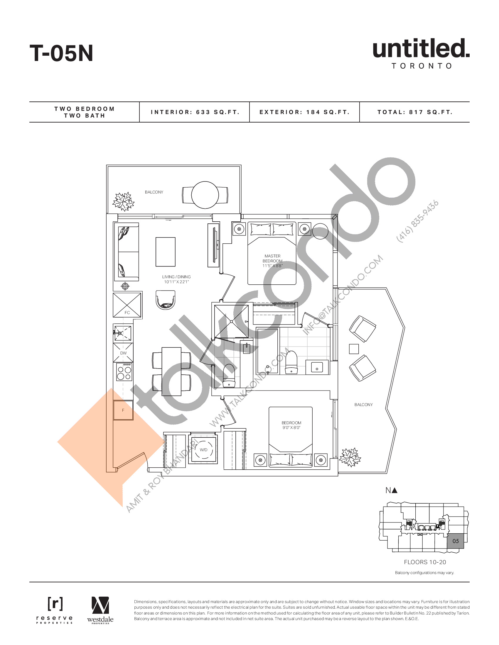 T-05N Floor Plan at Untitled North Tower Condos - 633 sq.ft