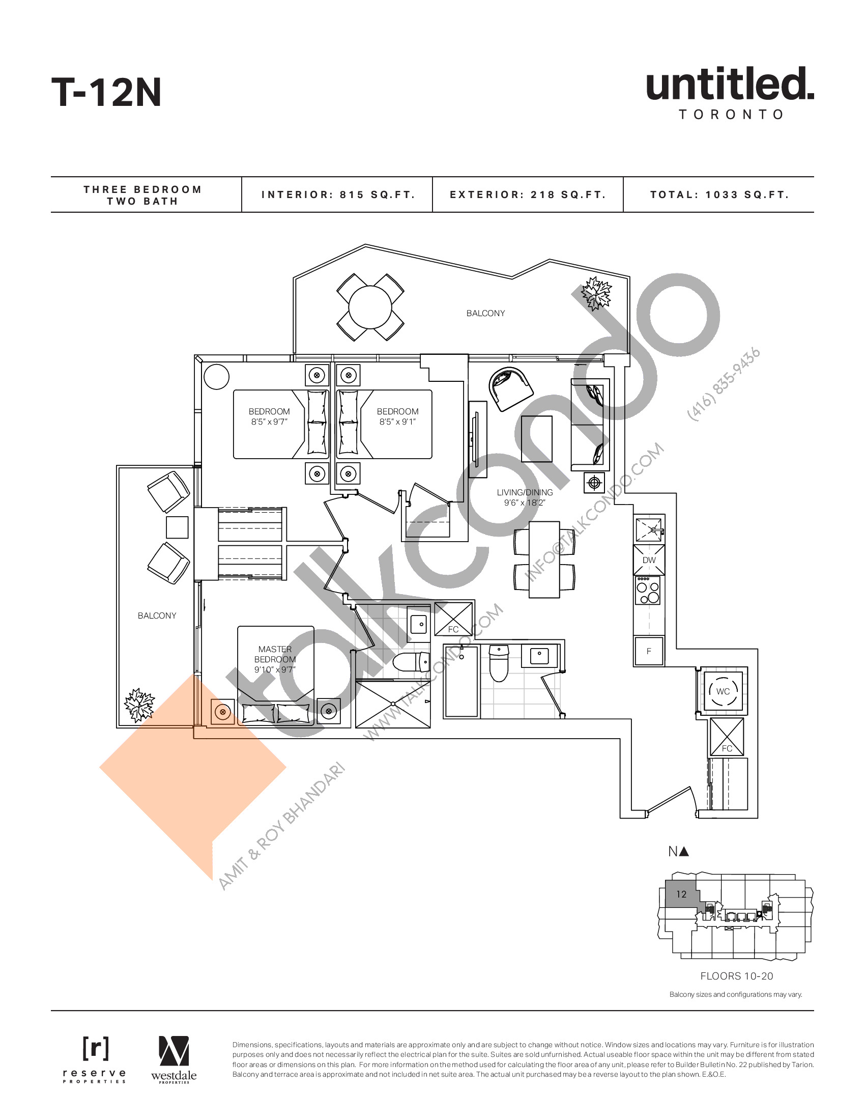 T-12N Floor Plan at Untitled North Tower Condos - 815 sq.ft