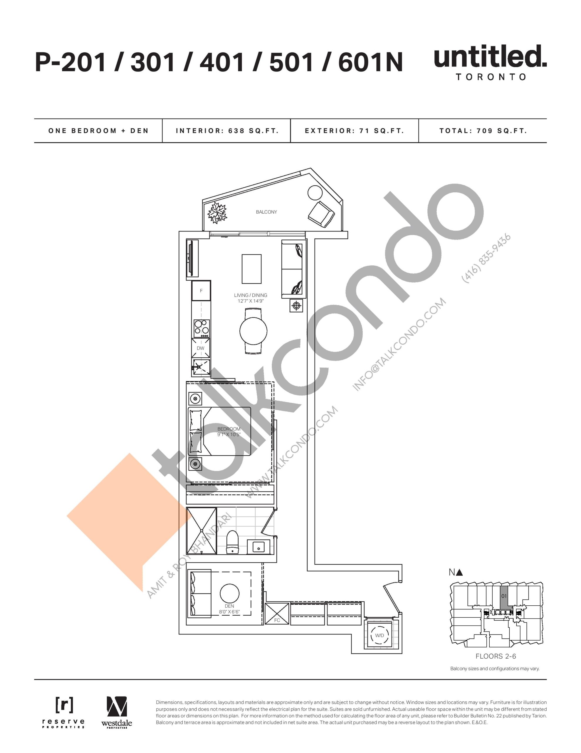P-201 / 301 / 401 / 501 / 601N Floor Plan at Untitled North Tower Condos - 638 sq.ft
