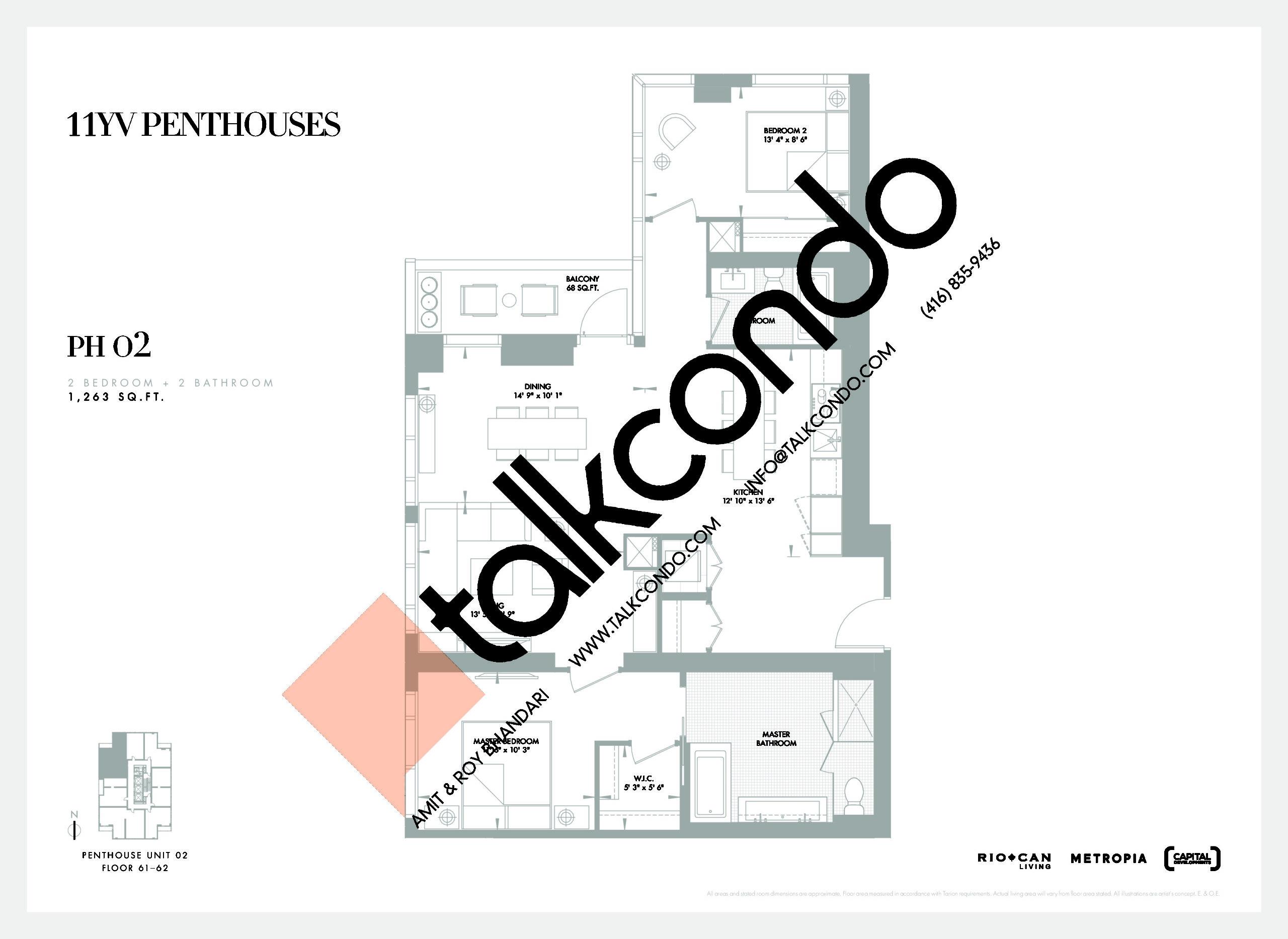 PH 02 Floor Plan at 11YV Condos - 1263 sq.ft