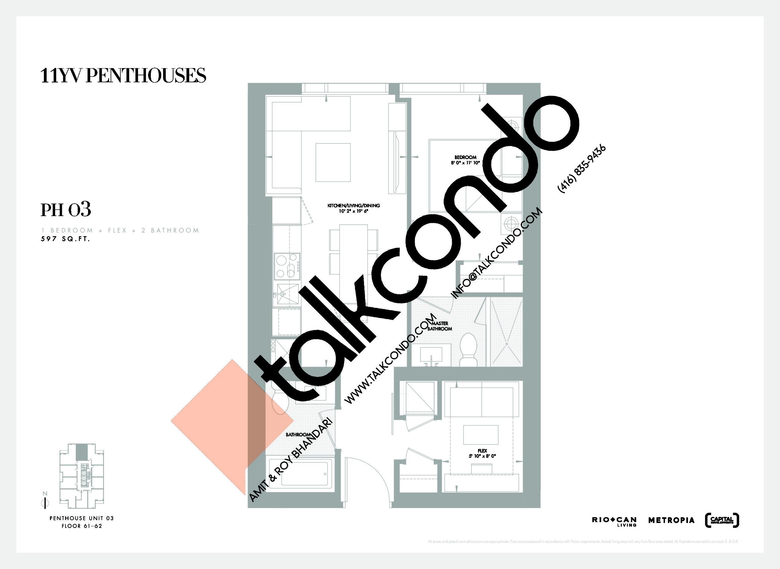 PH 03 Floor Plan at 11YV Condos - 597 sq.ft